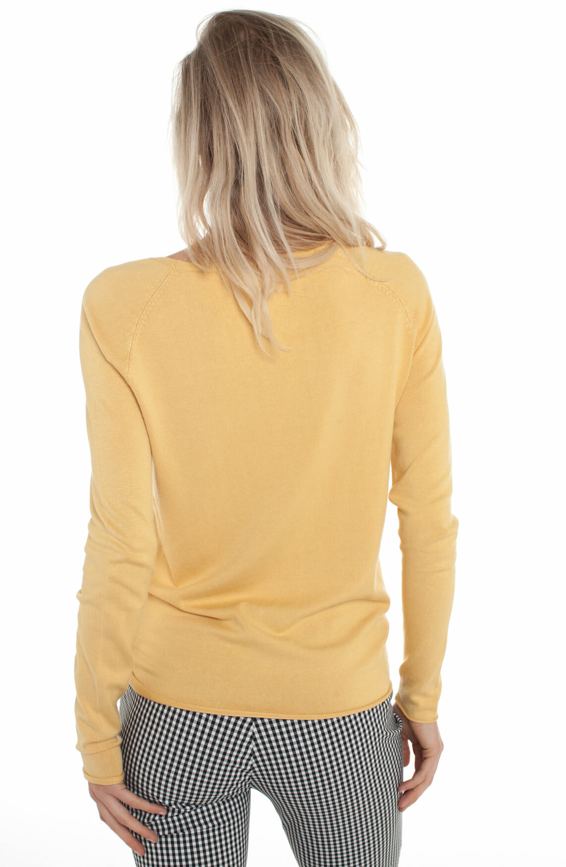 Anna Dames Pullover met knoopdetail geel