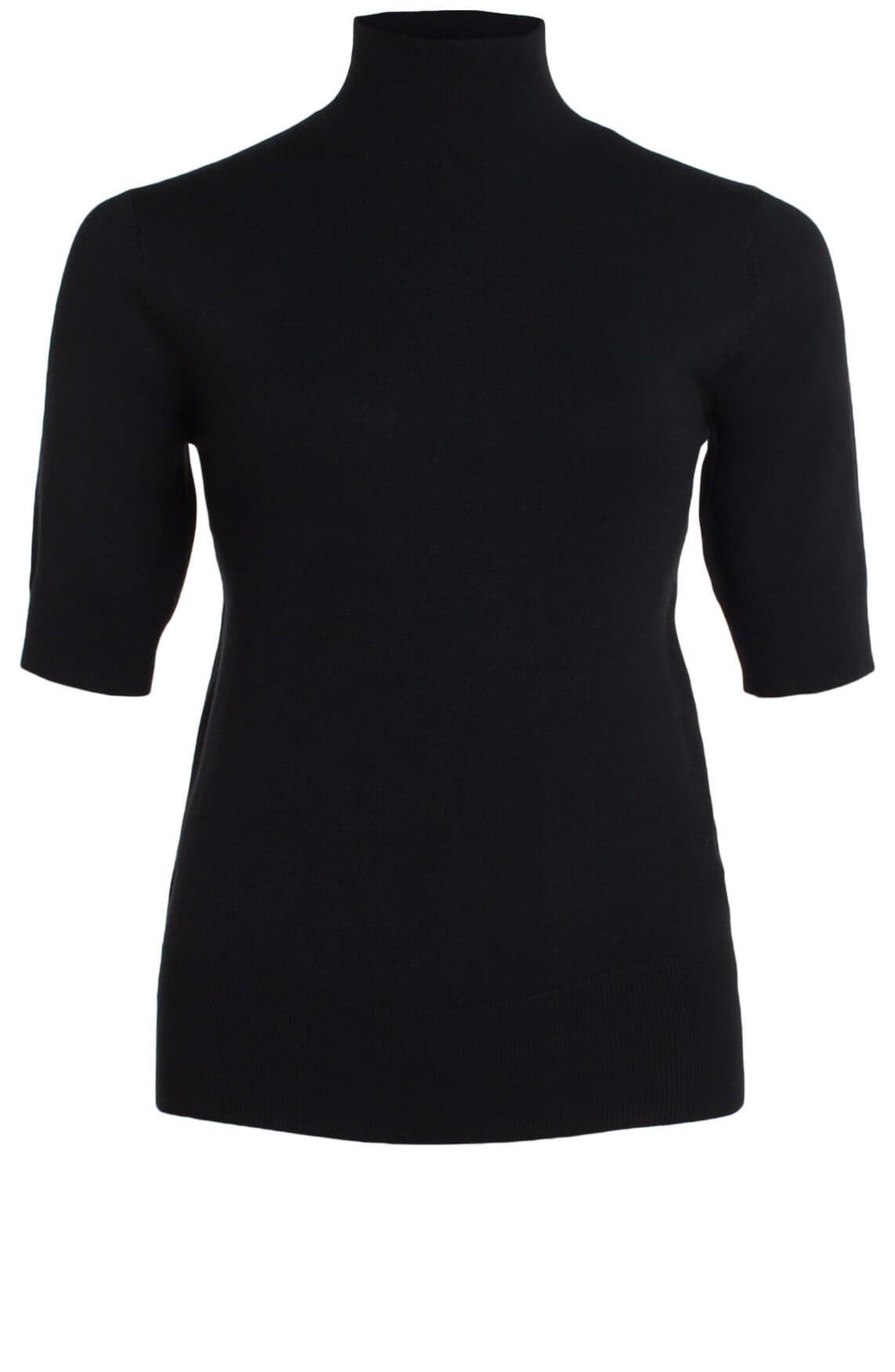Anna Dames Fijngebreide pullover met col zwart