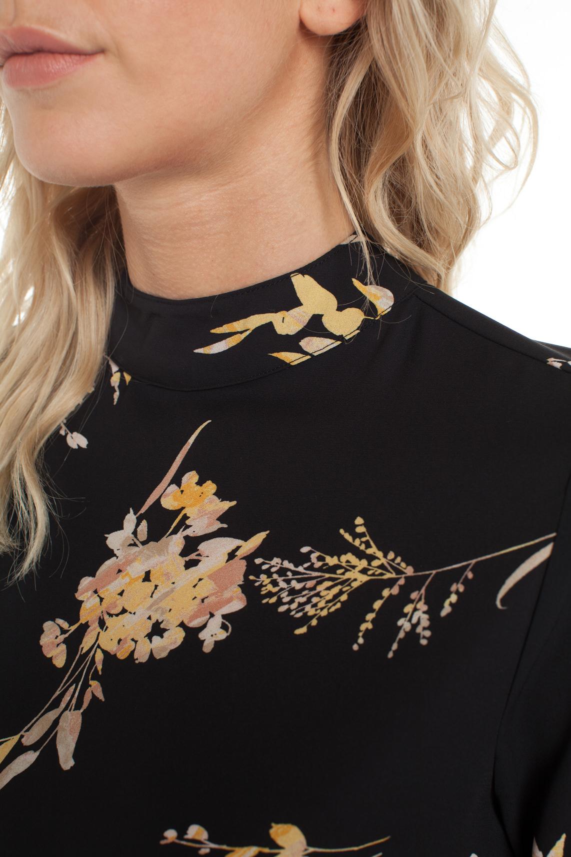 Anna Dames Blouse met bloesemprint zwart