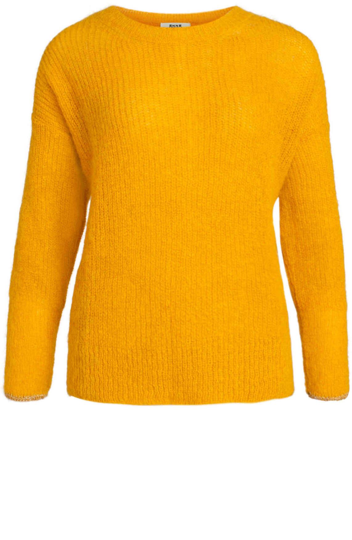 Anna Dames Pullover met lurex detail geel