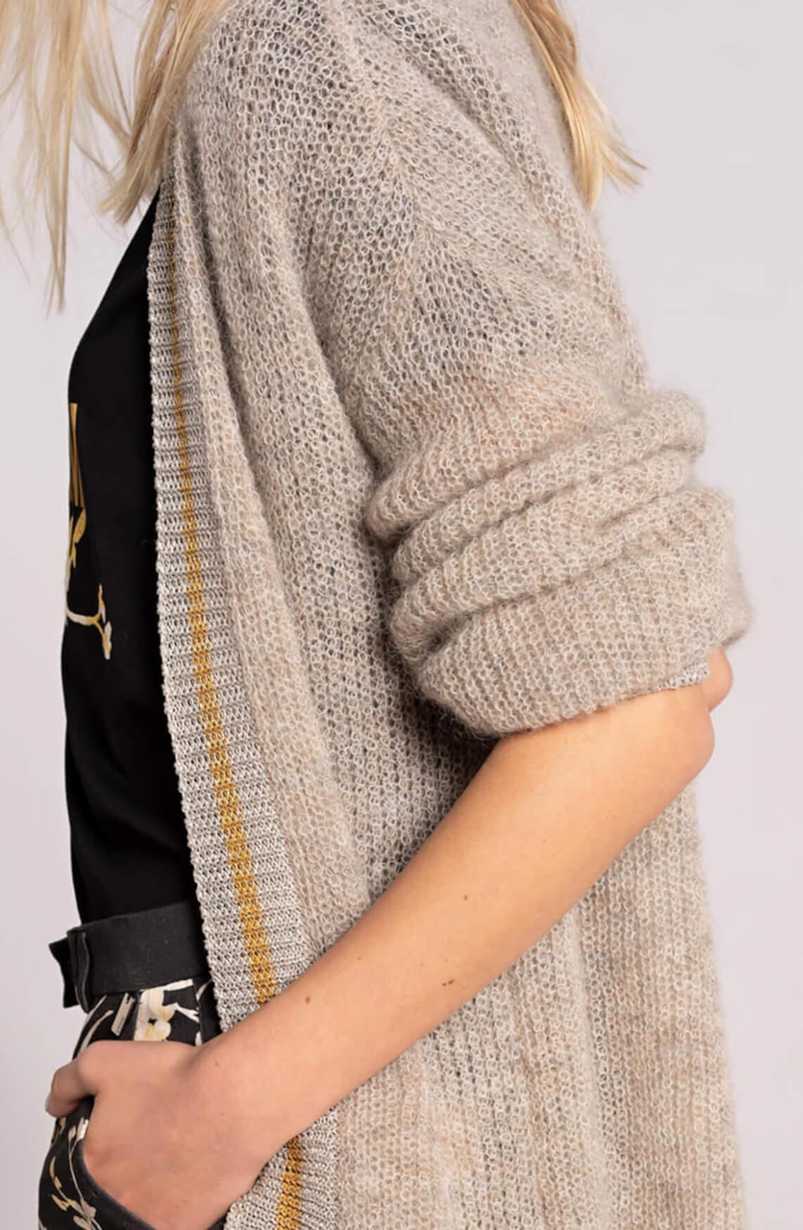 Anna Dames Vest met lurex contrast Ecru
