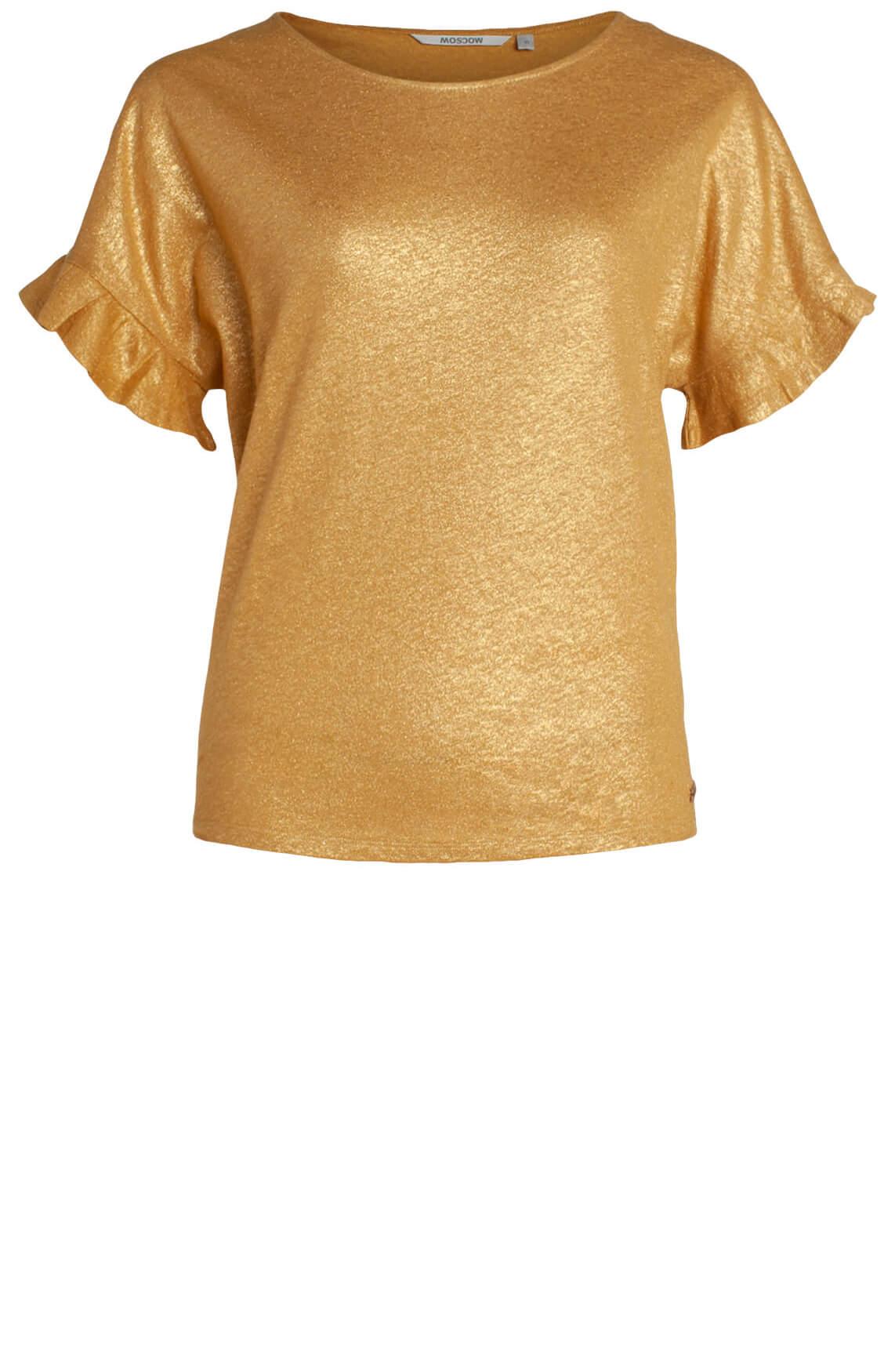 Moscow Dames Shirt met ruffles geel