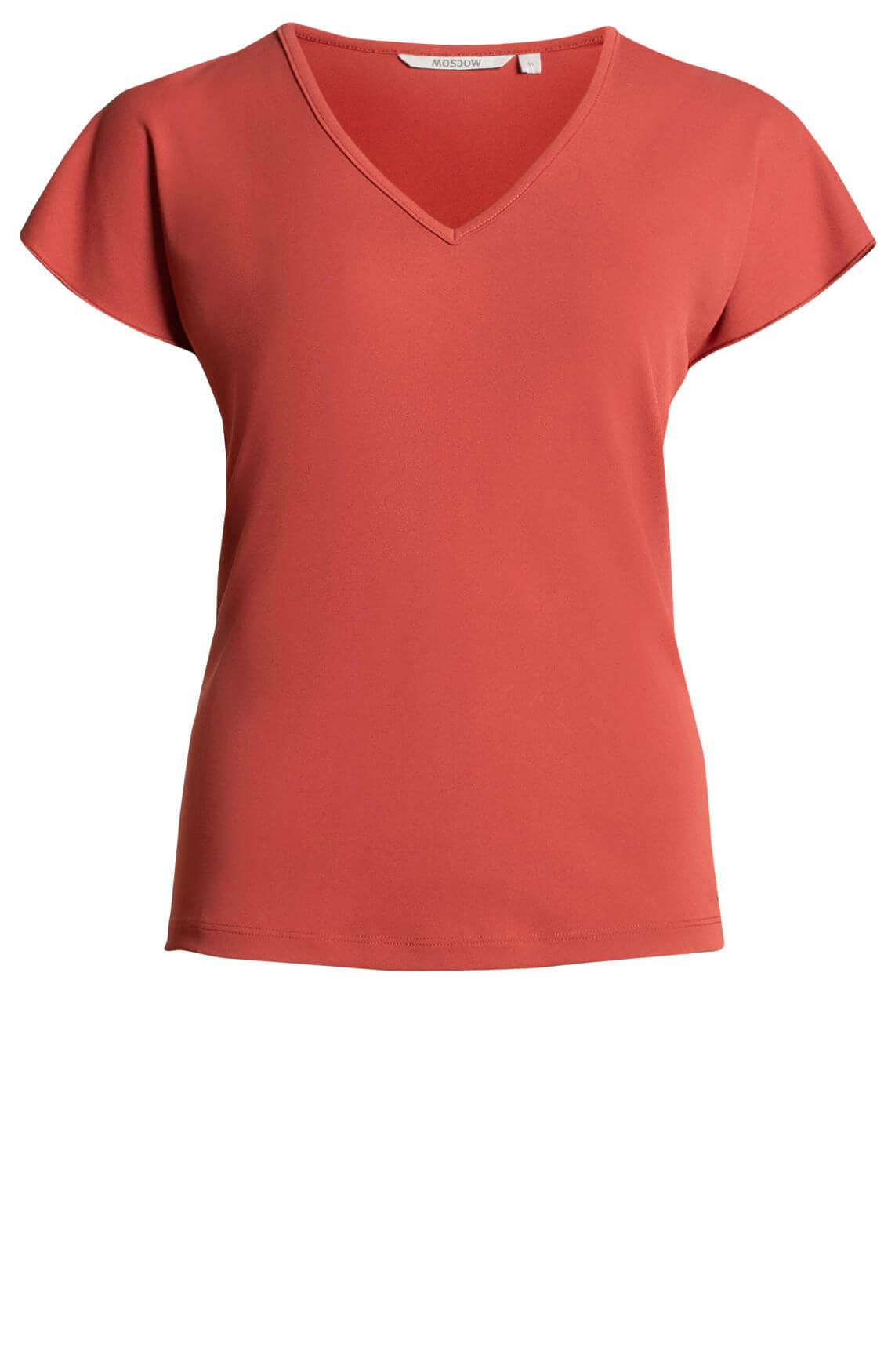 Moscow Dames Shirt met V-hals Rood