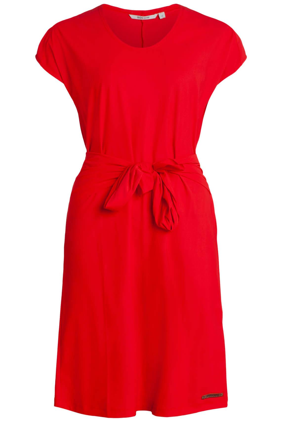 Moscow Dames Comfortabele jurk met ceintuur Rood