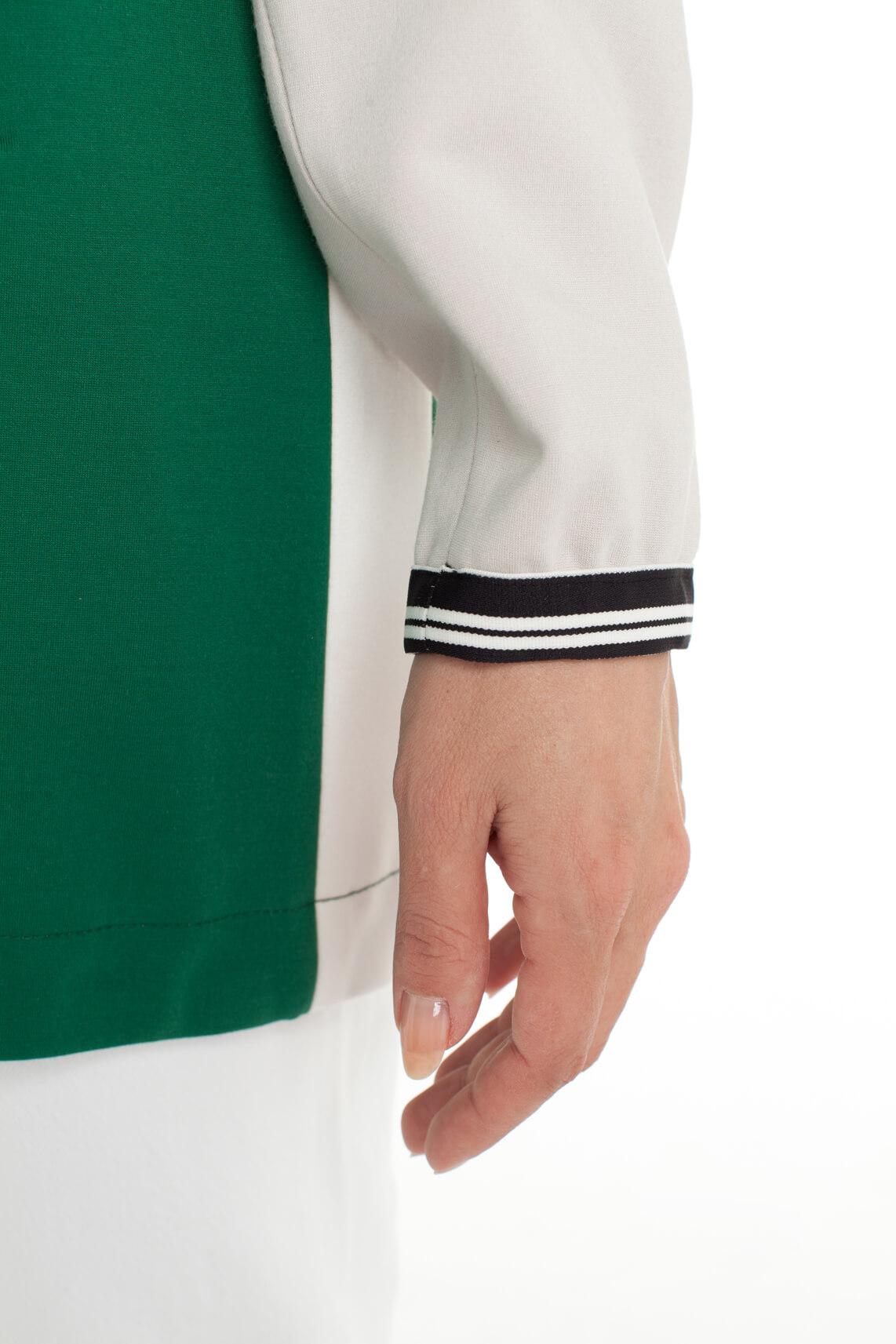 Creenstone Dames Colourblock lange bomber groen