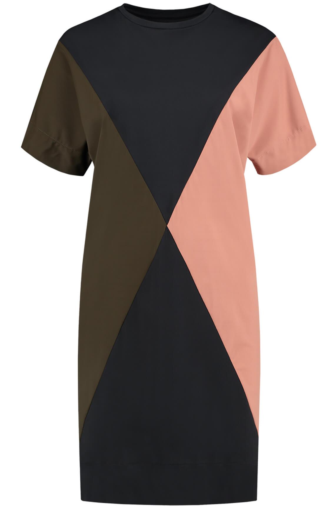 Fifth House Dames Eryn colourblock jurk zwart