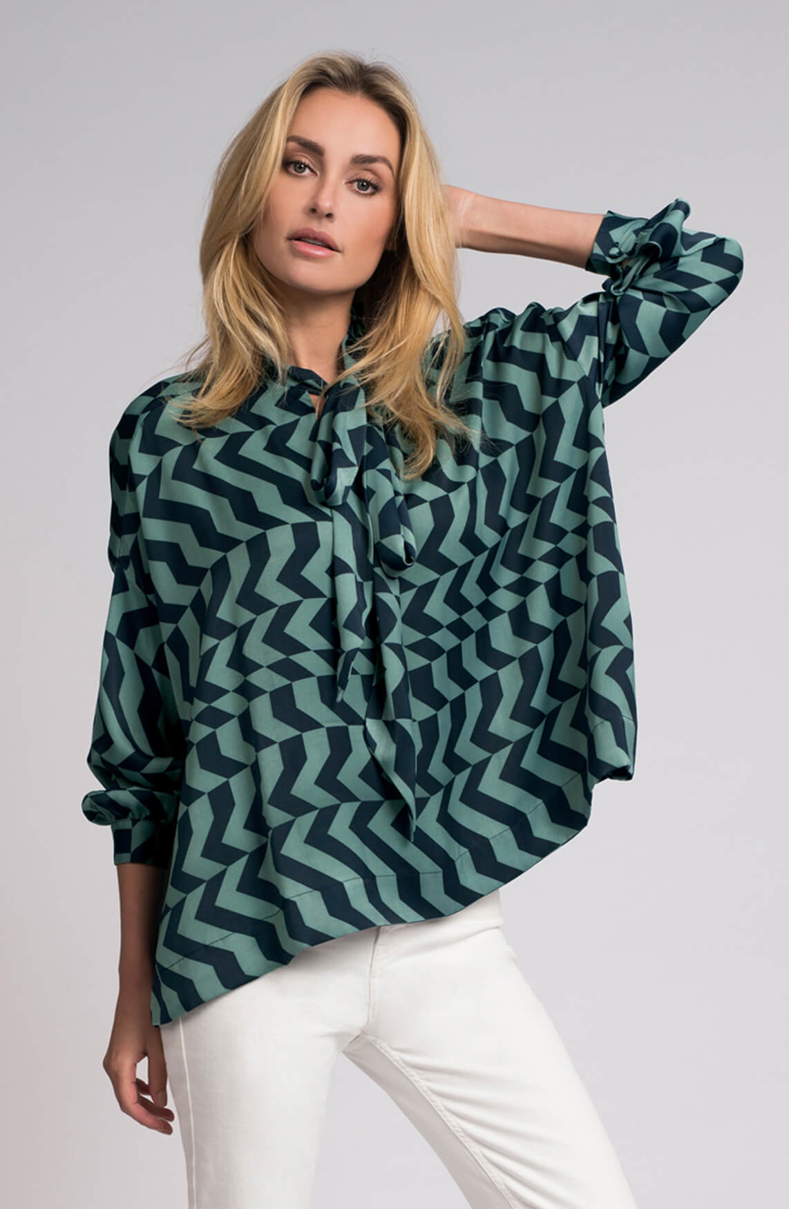 Fifth House Dames Rara zigzag blouse met striksluiting groen