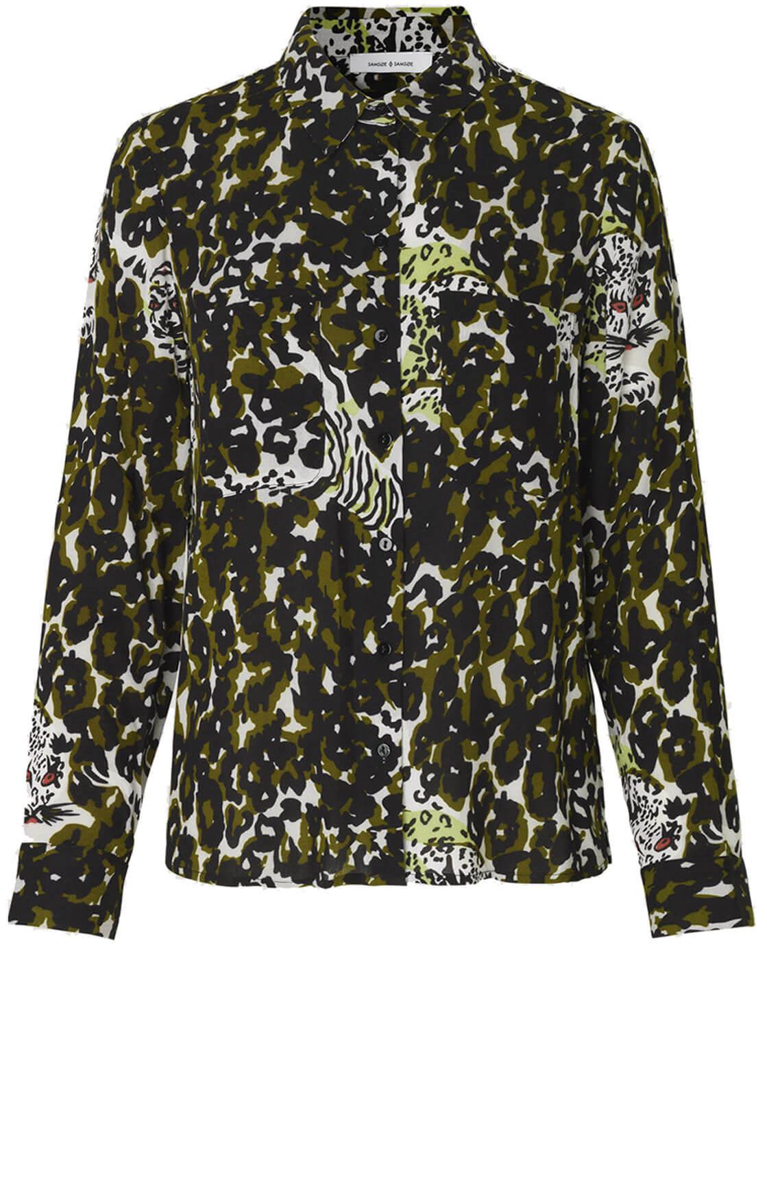 Samsoe Samsoe Dames Milly blouse met camouflage print groen