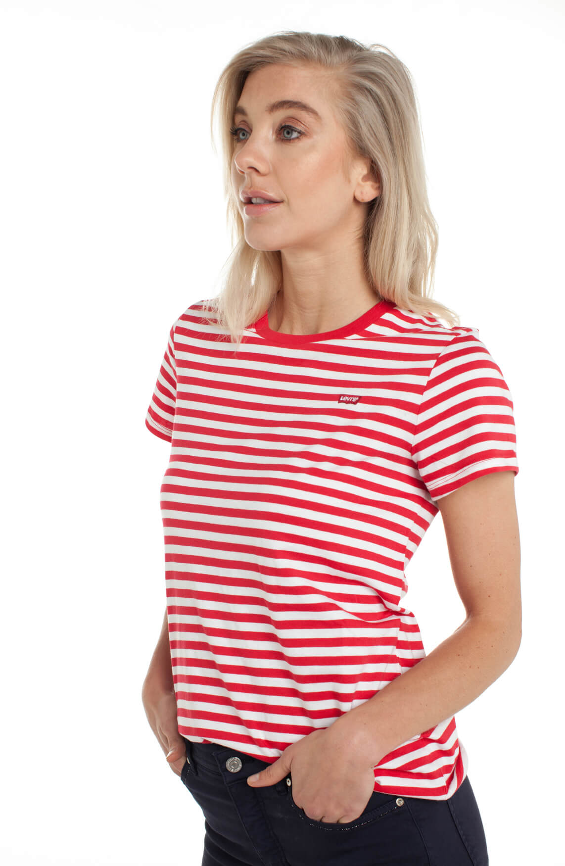 Levi s Dames Gestreept shirt Rood