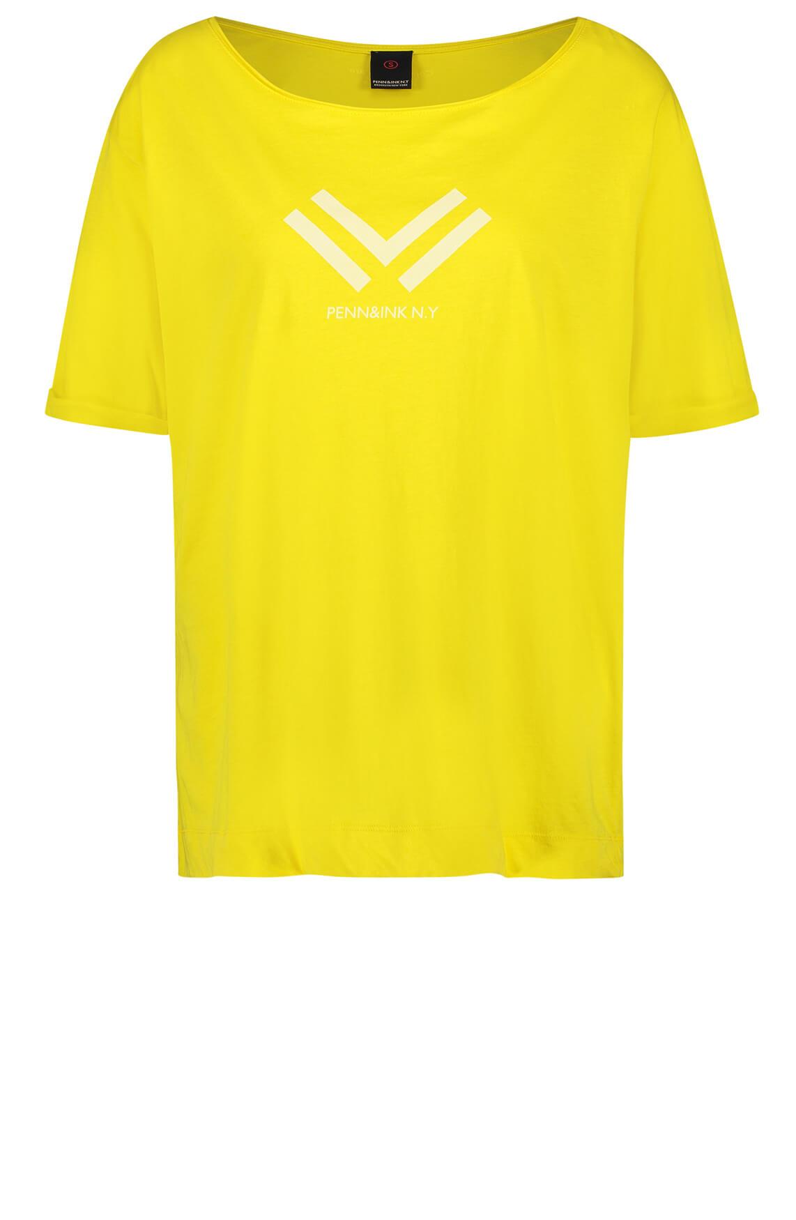 Penn & Ink Dames Shirt met print geel