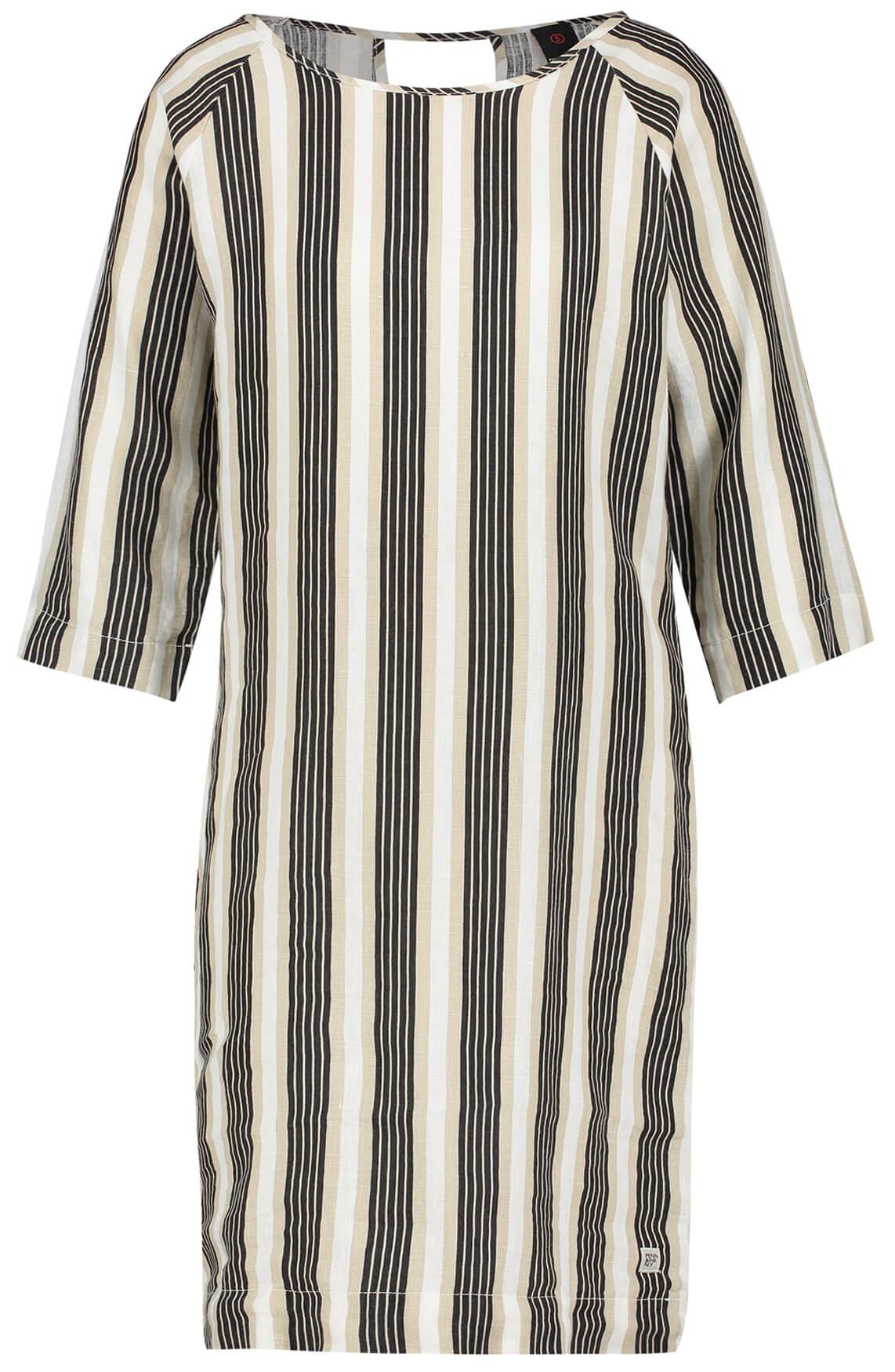 Penn & Ink Dames Gestreepte linnen jurk Bruin