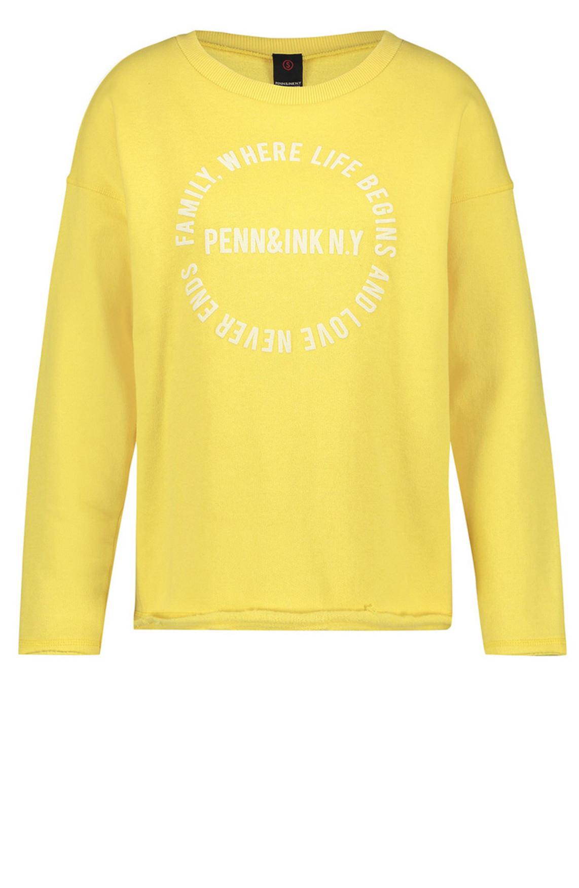 Penn & Ink Dames Pullover met tekstprint geel