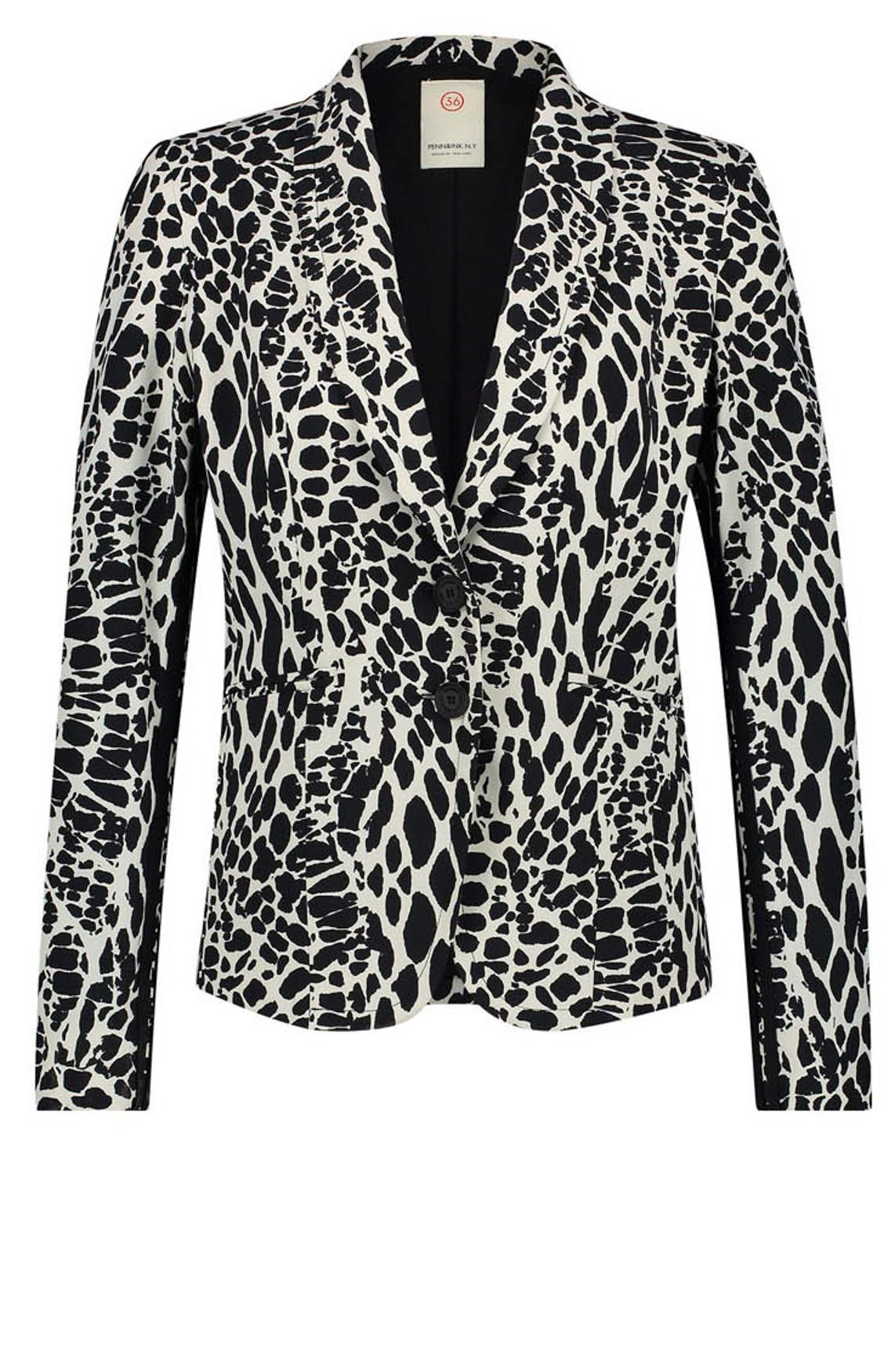 Penn & Ink Dames Geprinte blazer zwart
