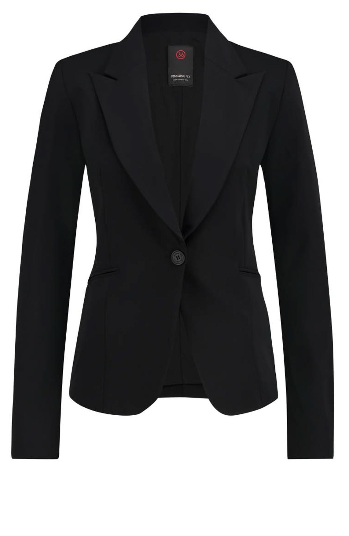 Penn & Ink Dames Jersey blazer zwart