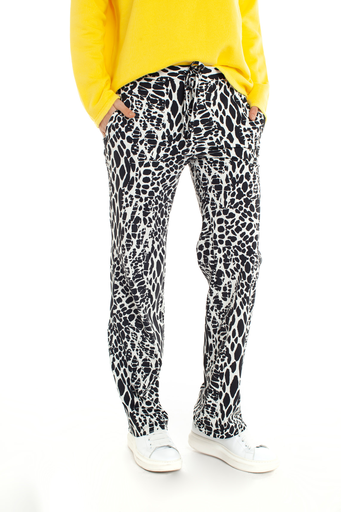 Penn & Ink Dames Broek met animalprint wit