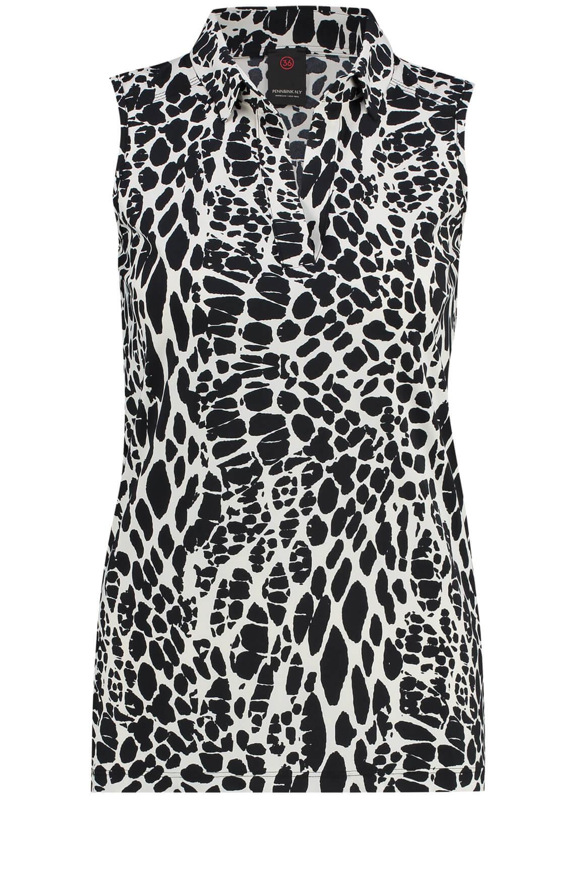 Penn & Ink Dames Mouwloze blouse met animalprint zwart