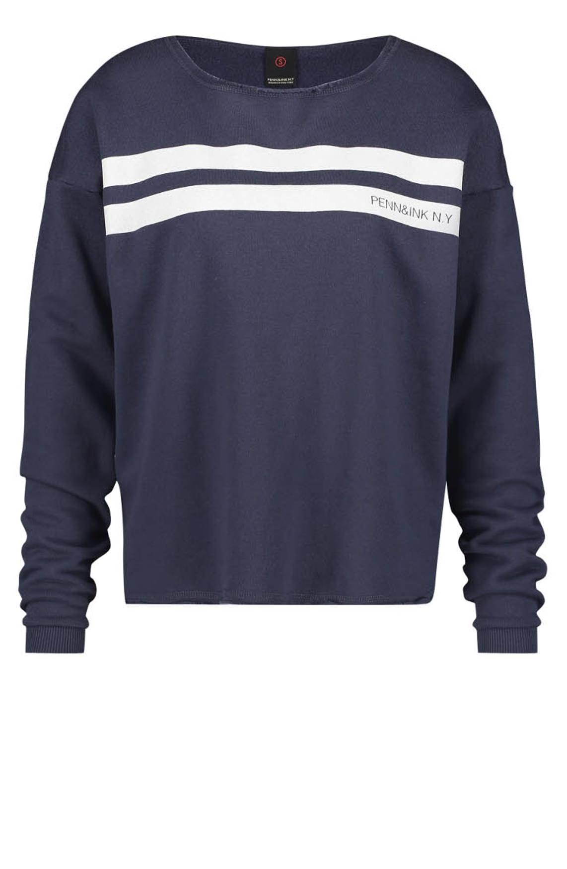 Penn & Ink Dames Sweater met strepen Blauw
