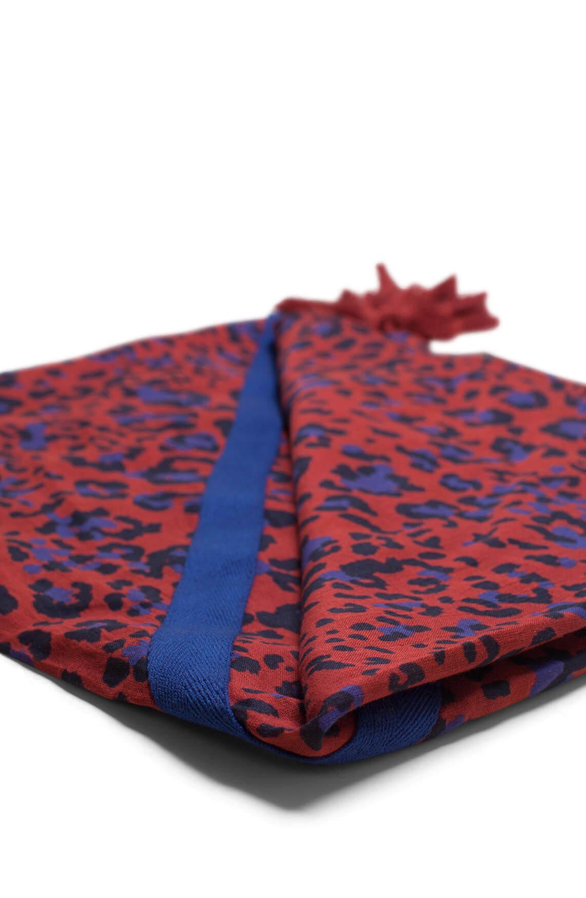 Anna Dames Panterprint shawl met kwastjes Rood