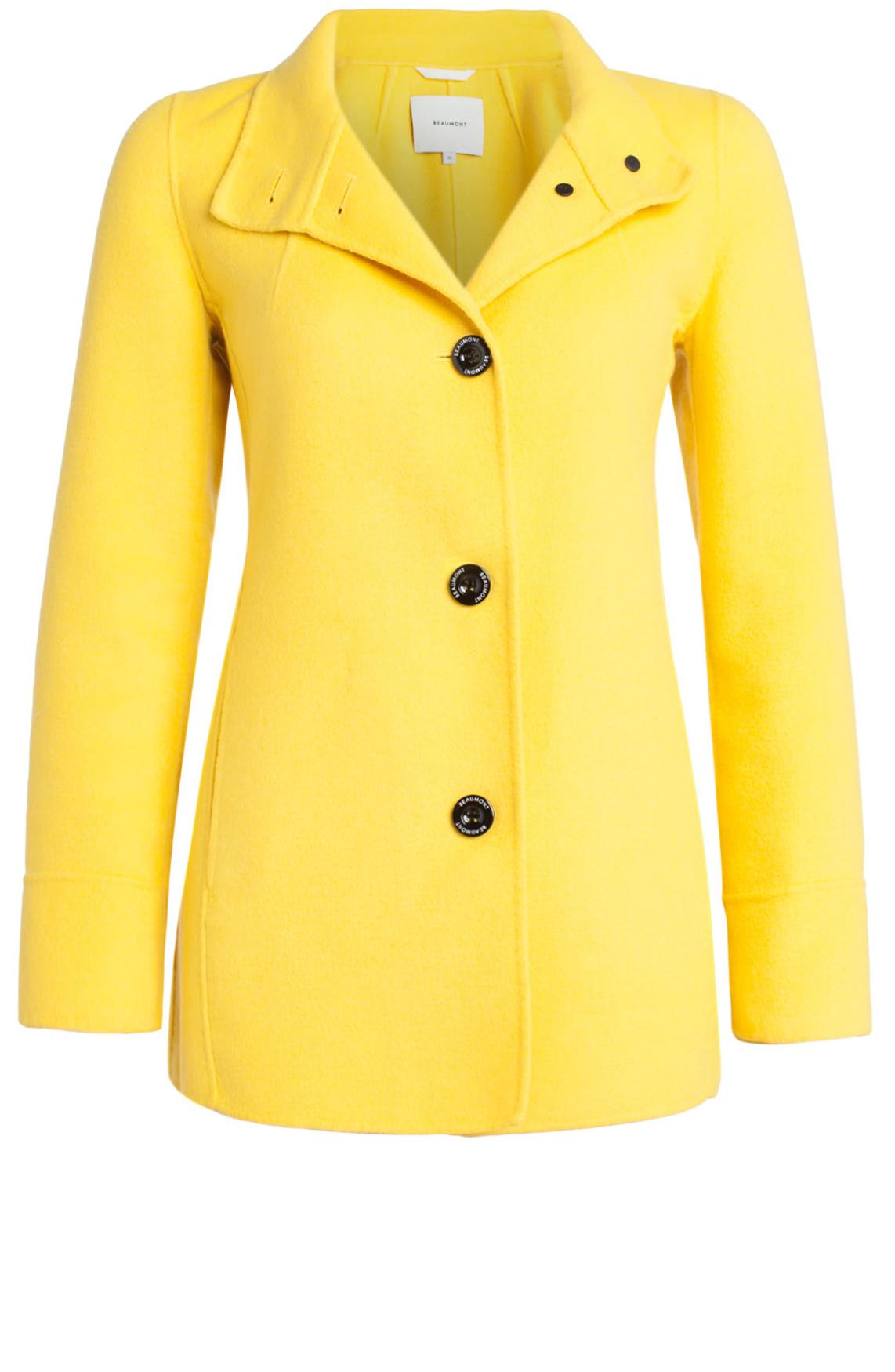 Beaumont Dames Korte wolmix mantel geel