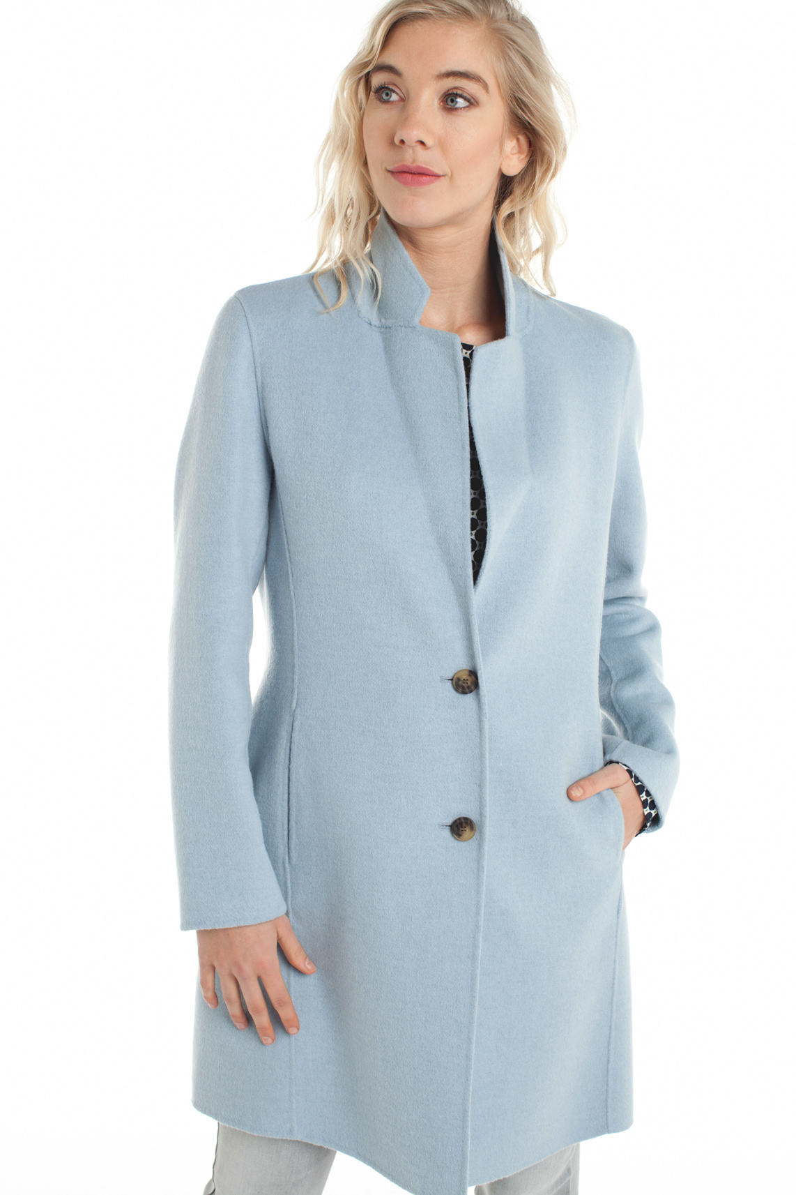 Beaumont Dames Lange wolmix mantel Blauw