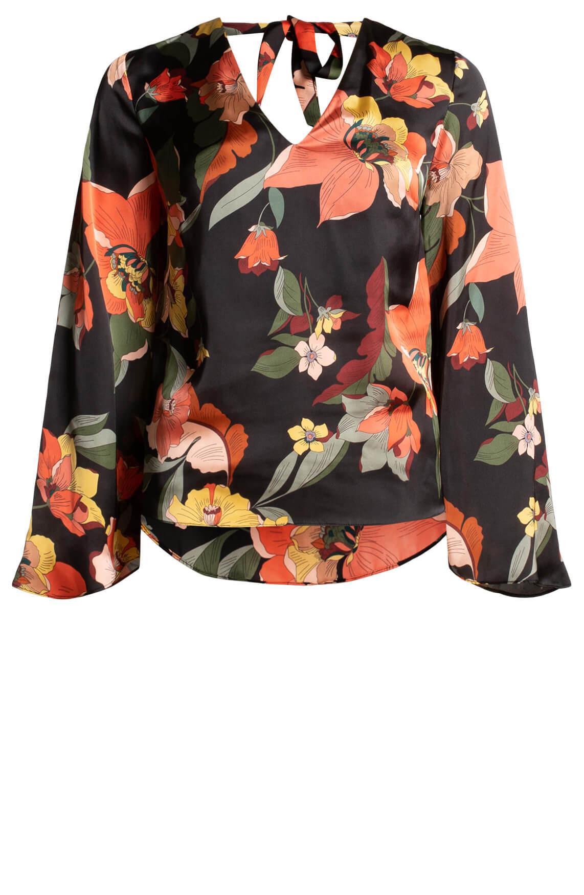 Kocca Dames Eritria blouse met strikdetail zwart