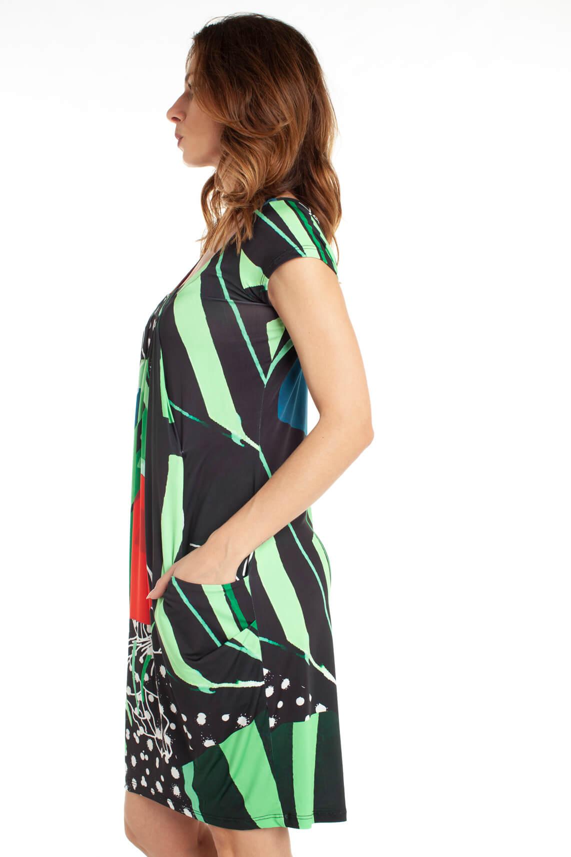 Eroke Dames Geplooide jurk met print zwart
