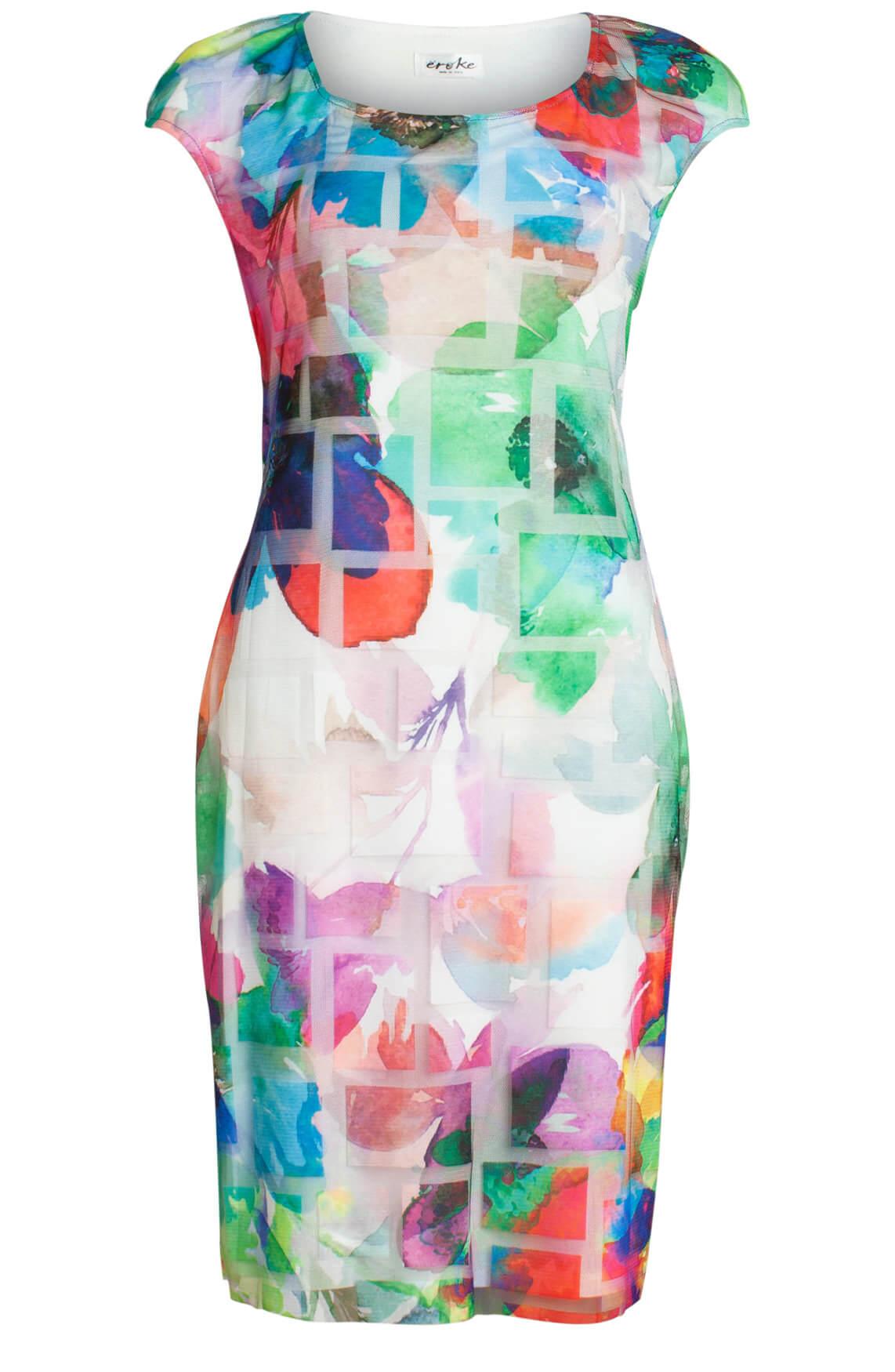 b4fd236d32ebb2 Eroke Dames Geprinte jurk met mesh wit