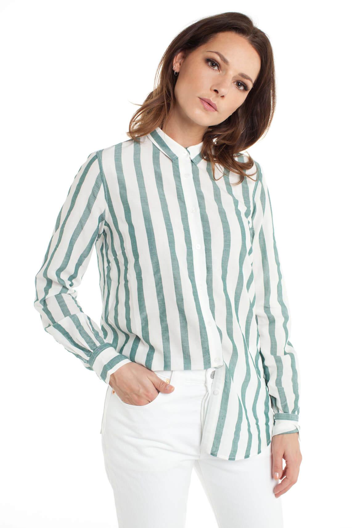 Mos Mosh Dames Kayla gestreepte blouse groen
