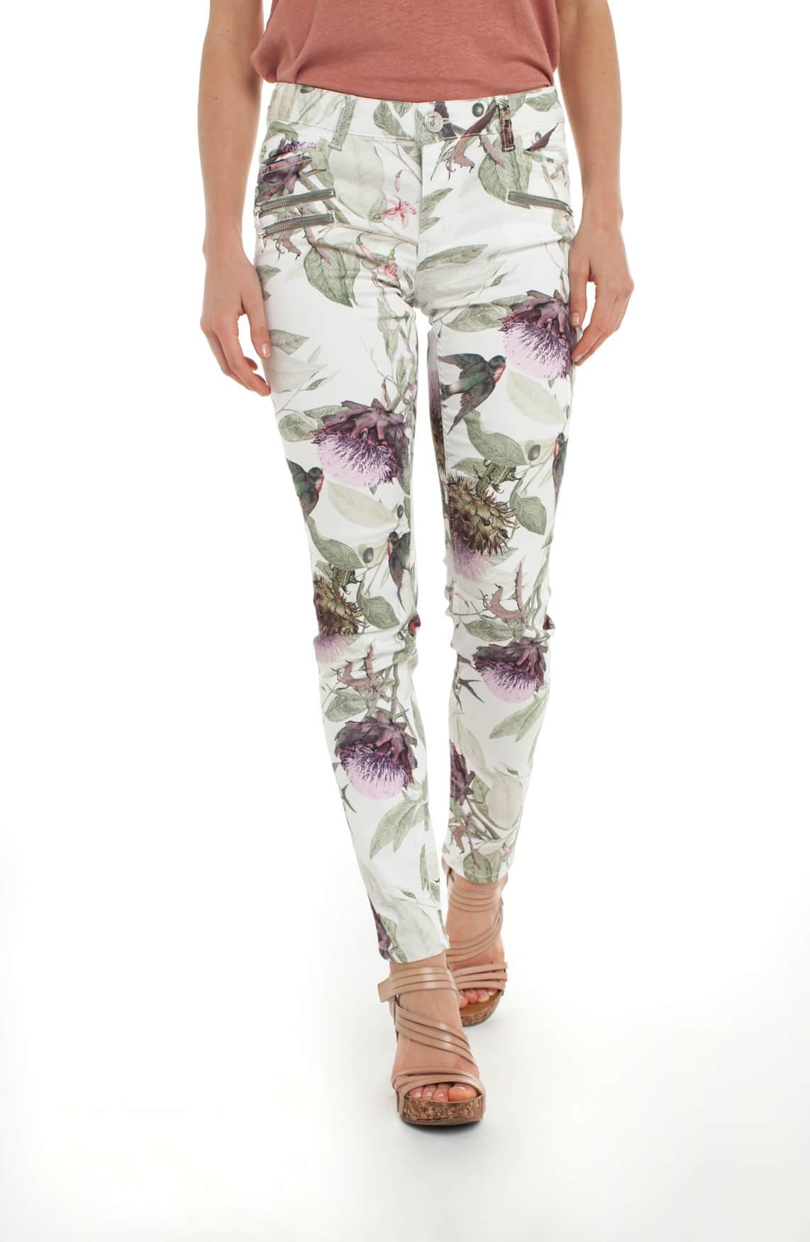 Mos Mosh Dames Berlin broek met bloemenprint wit