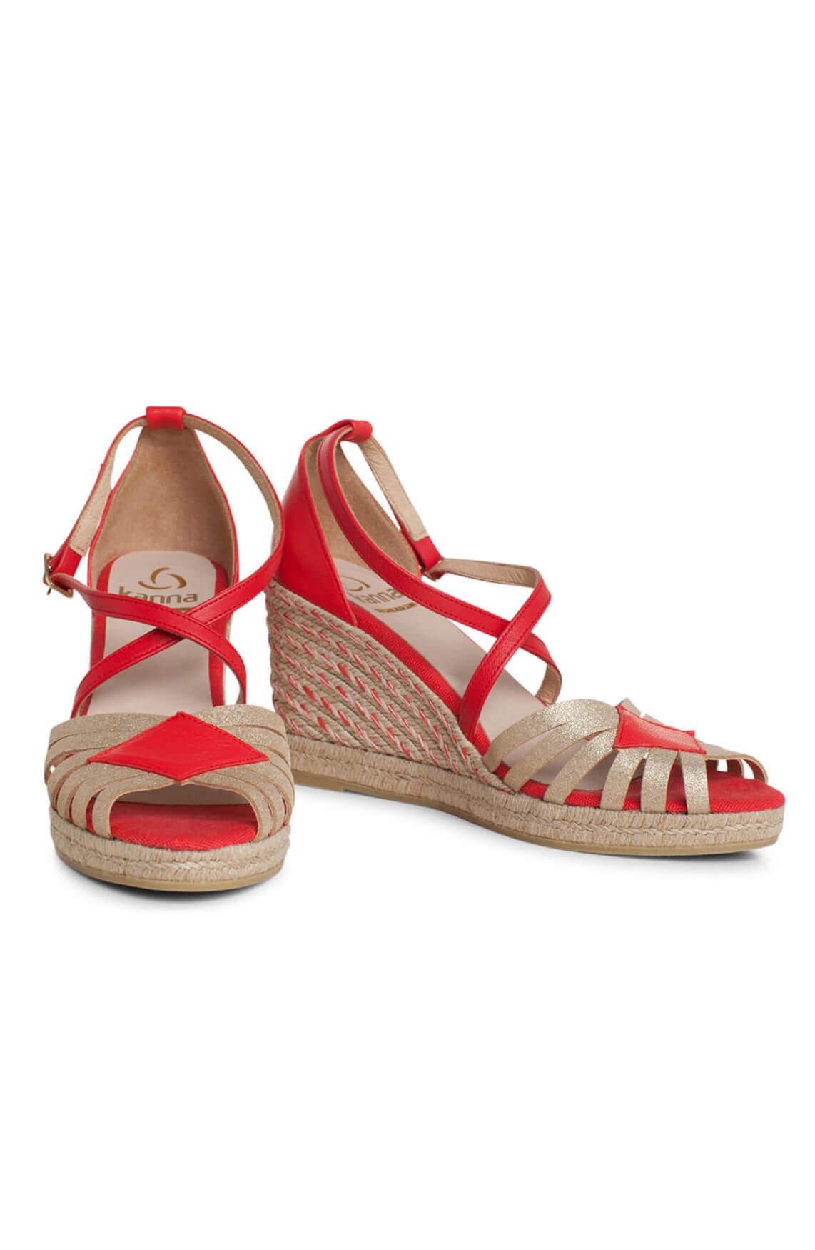 Kanna Dames Sandaal met lurex bandjes Rood