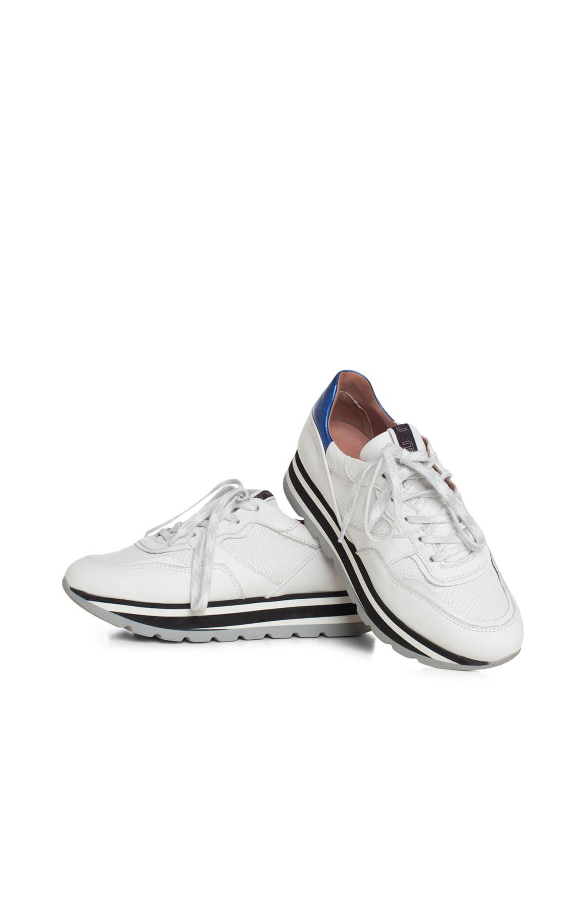 Mjus Dames Sneaker met gestreepte zool wit