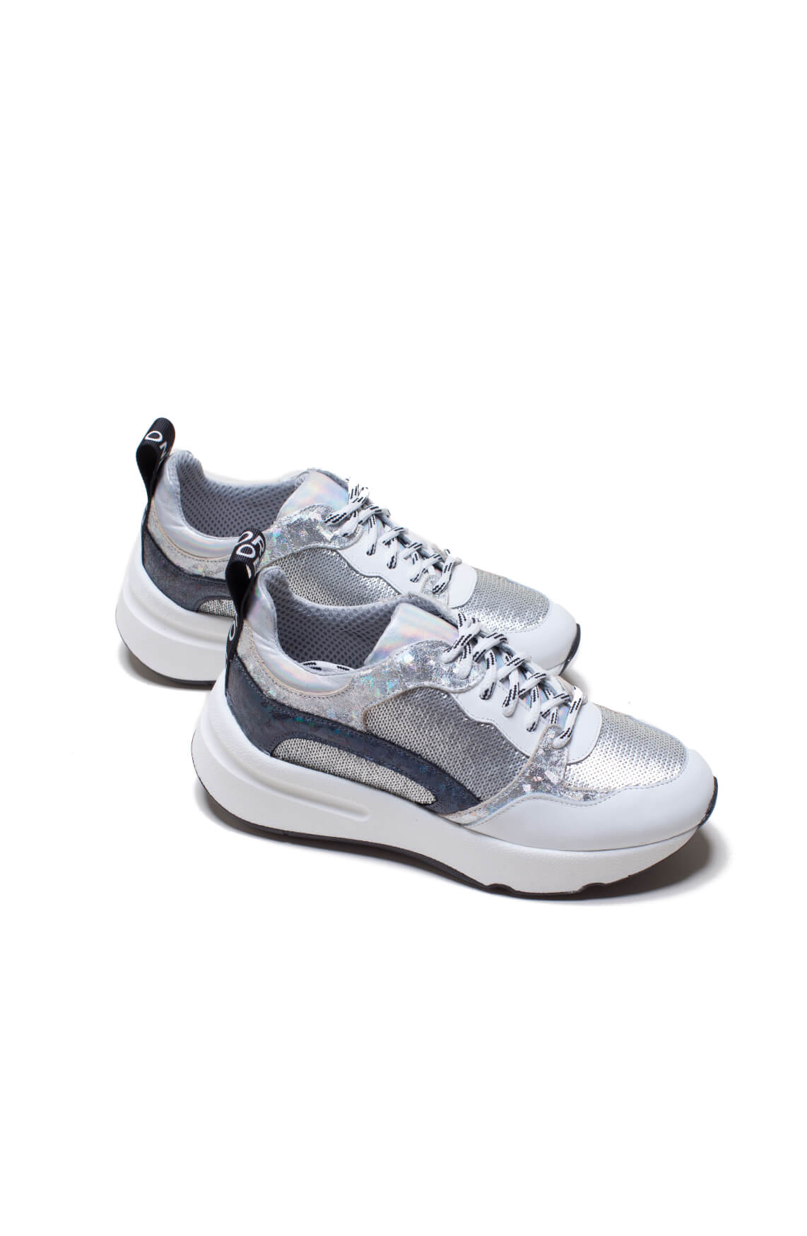 Meline Dames Metallic sneaker met pailletten wit