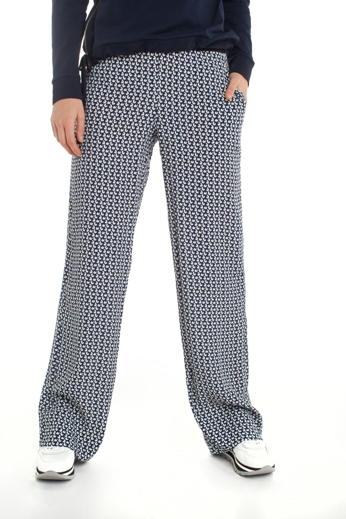Anna Blue Dames Wijdvallende broek met print Blauw