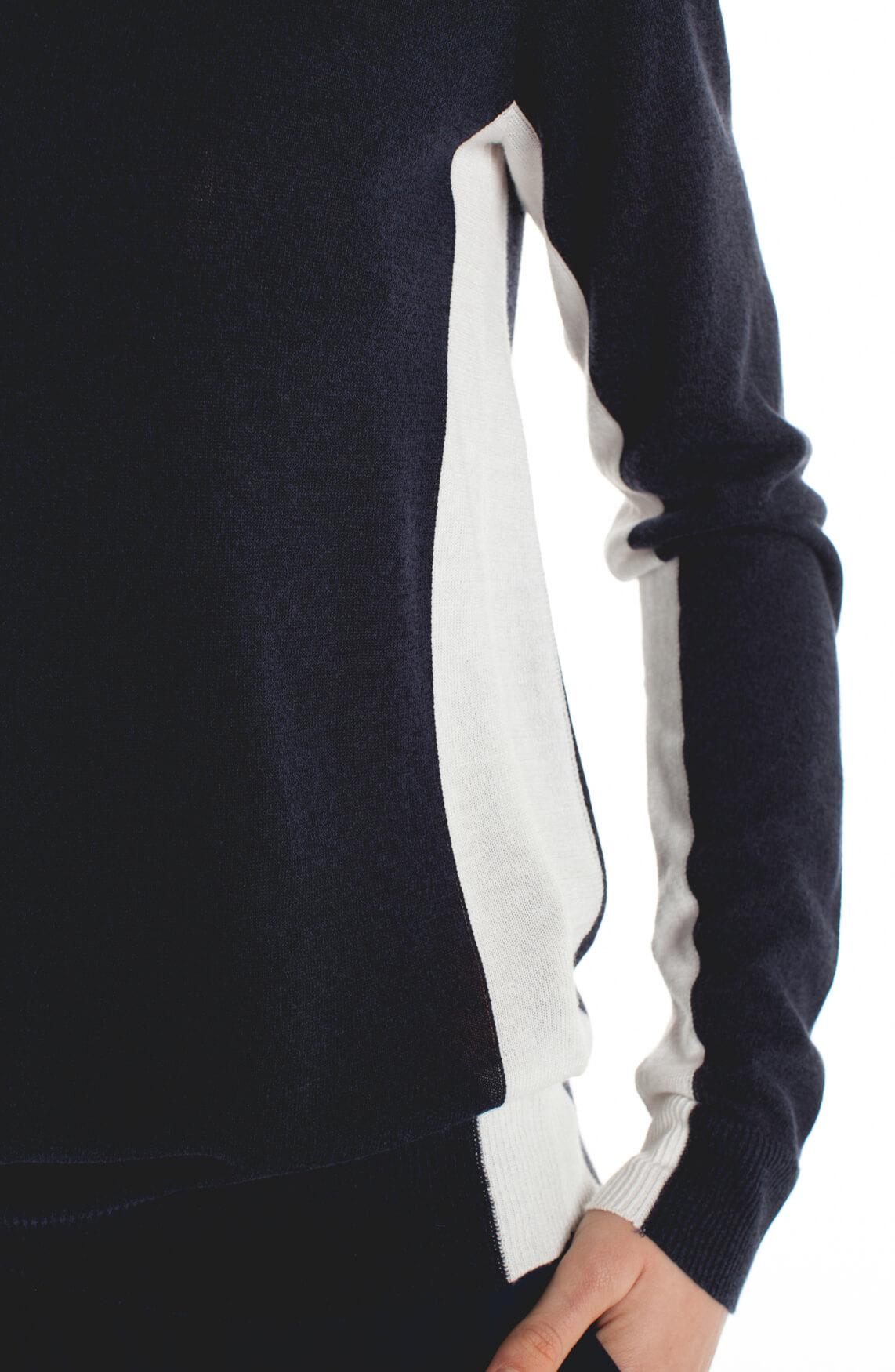Anna Dames Fijngebreide pullover met bies Blauw