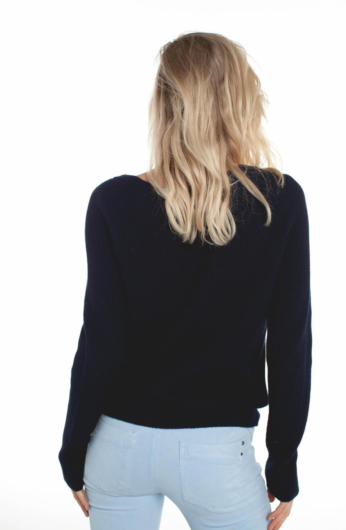 Anna Dames Grofgebreide trui met V-hals Blauw