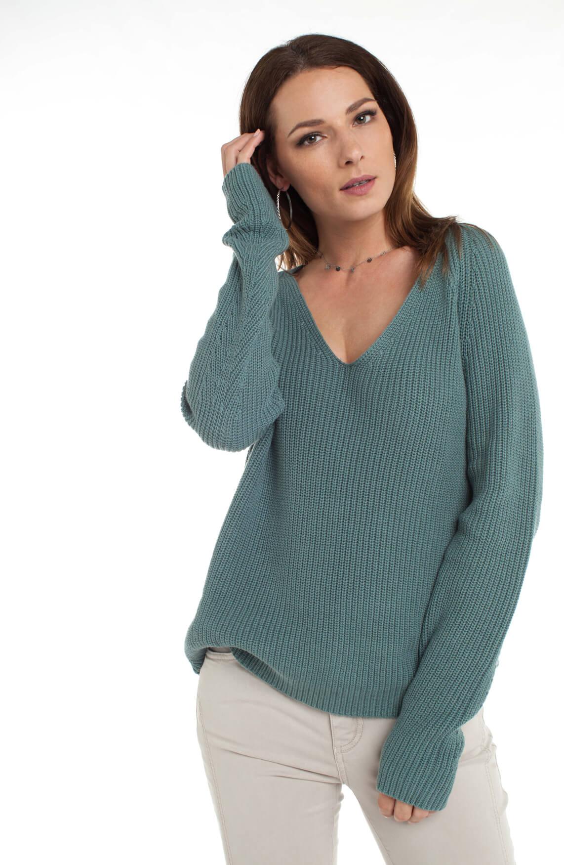 Anna Dames Grofgebreide trui met V-hals groen