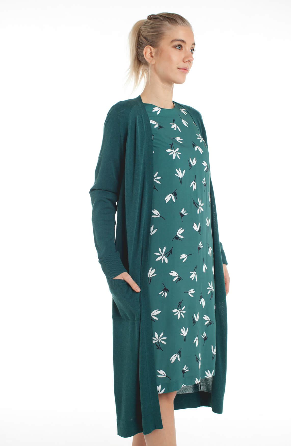 Anna Dames Lang openvallend vest groen