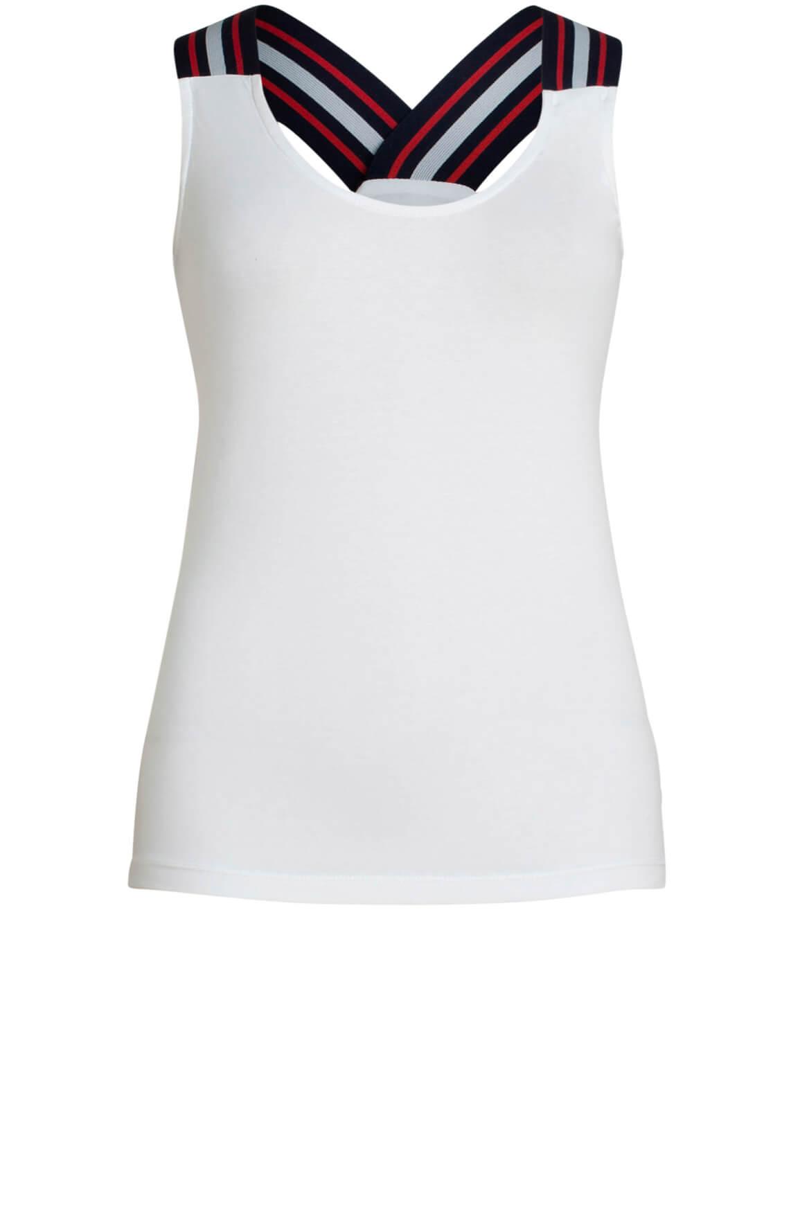 Anna Blue Dames Top met brede bandjes wit