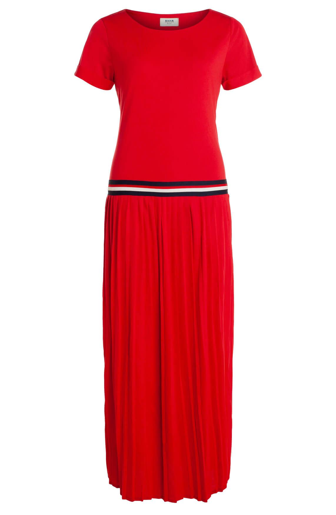Anna Blue Dames Lange plissé jurk Rood