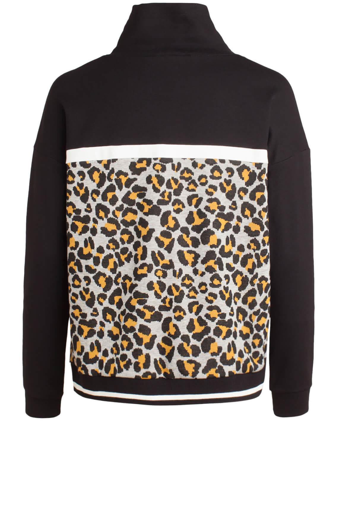 Anna Dames Sweater met panterprint zwart