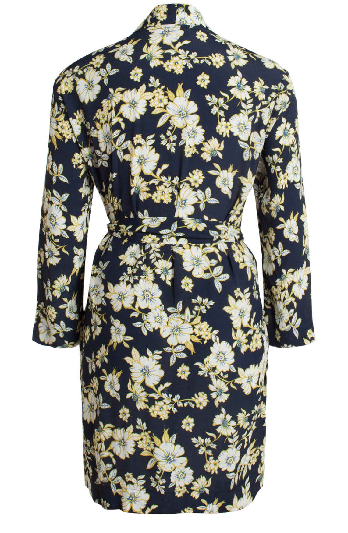 Anna Dames Kimono met bloemenprint Blauw
