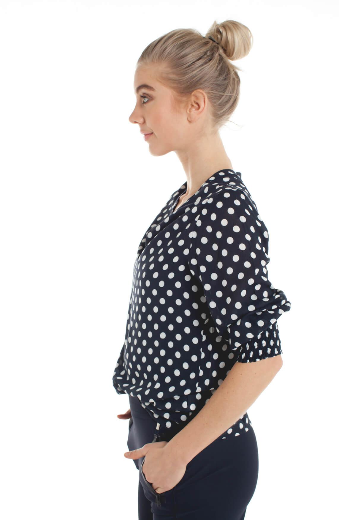 Anna Dames Gestippelde blouse Blauw