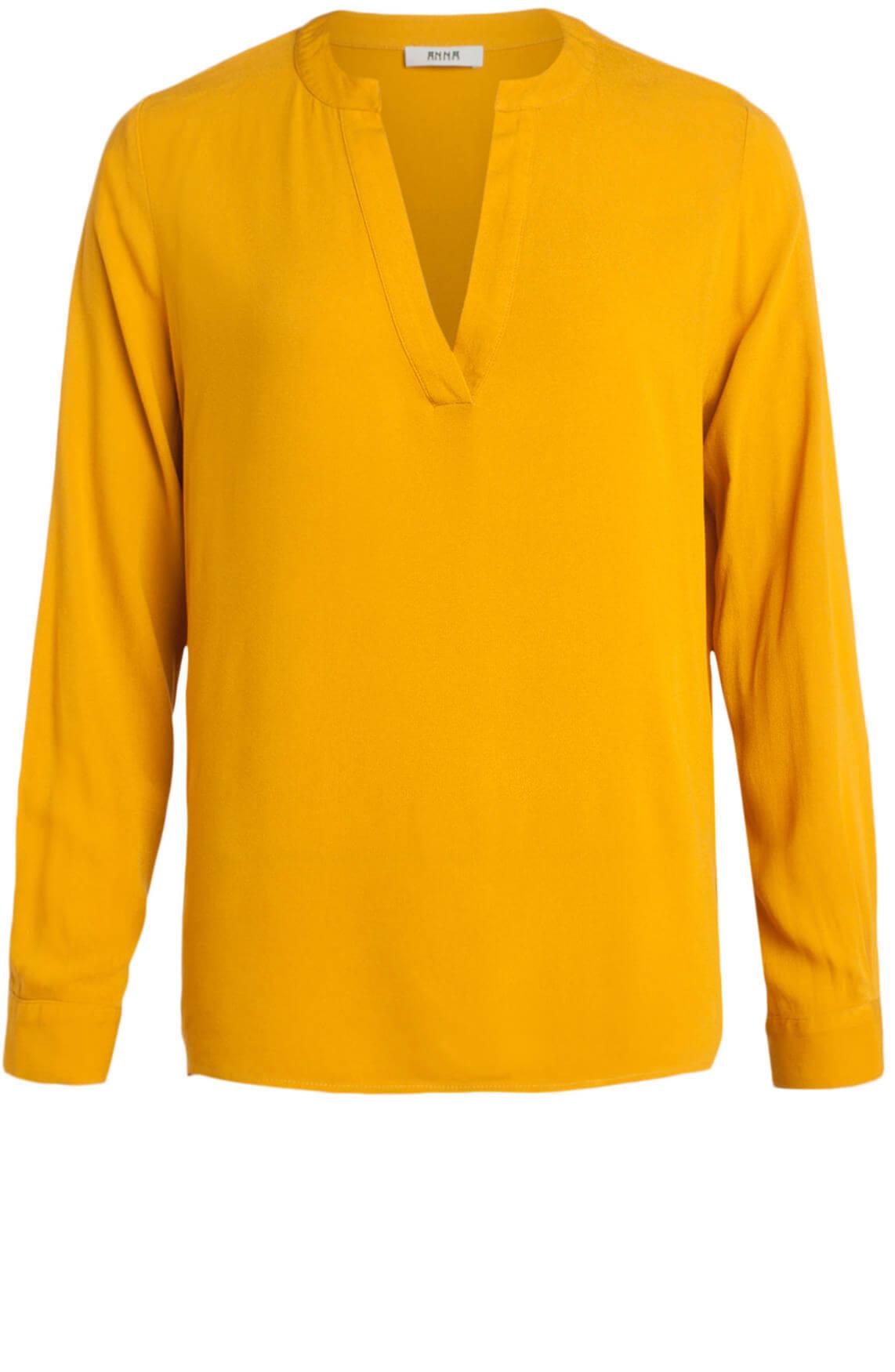 Anna Dames Blouse met v-hals geel