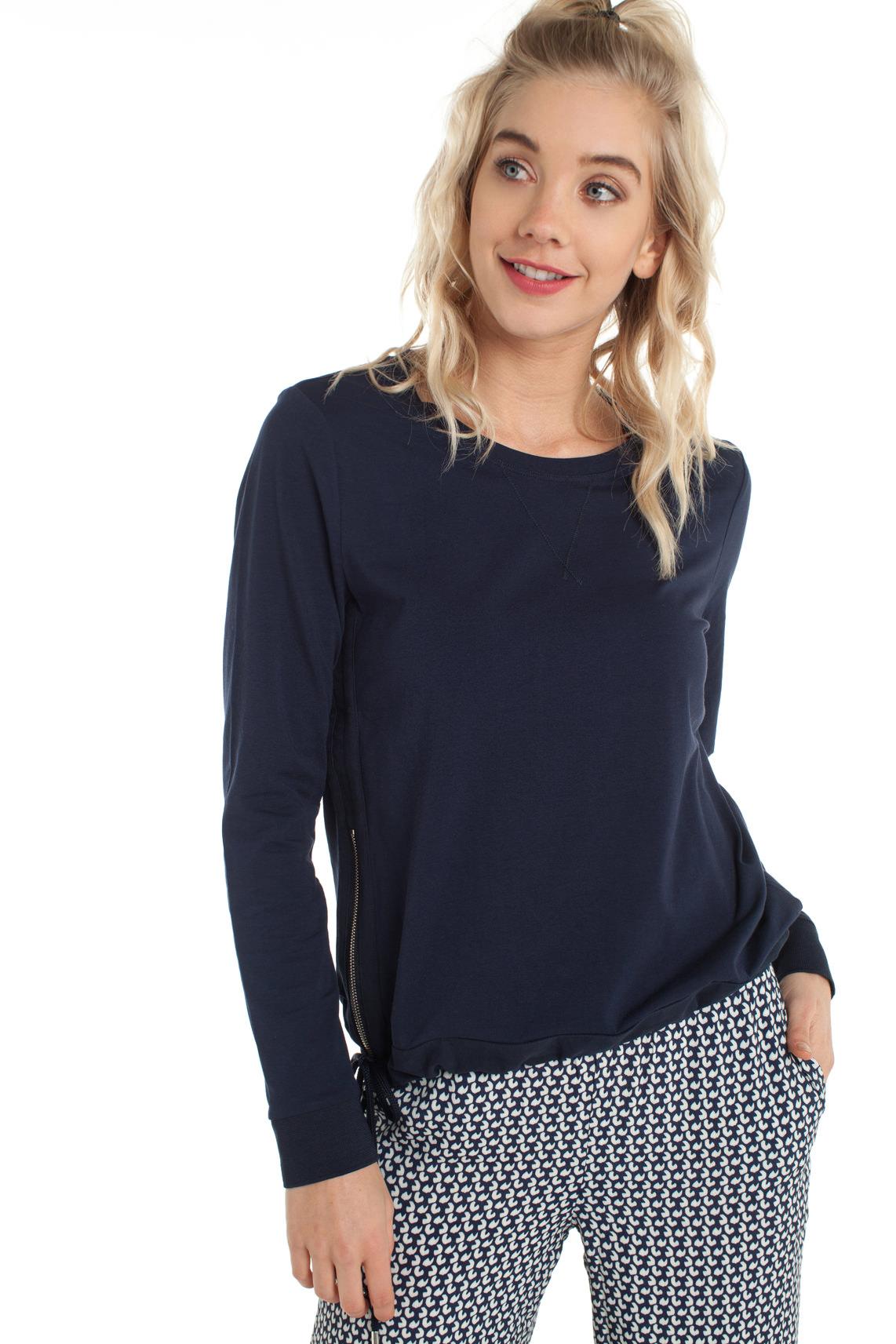 Anna Blue Dames Sweater met rits Blauw