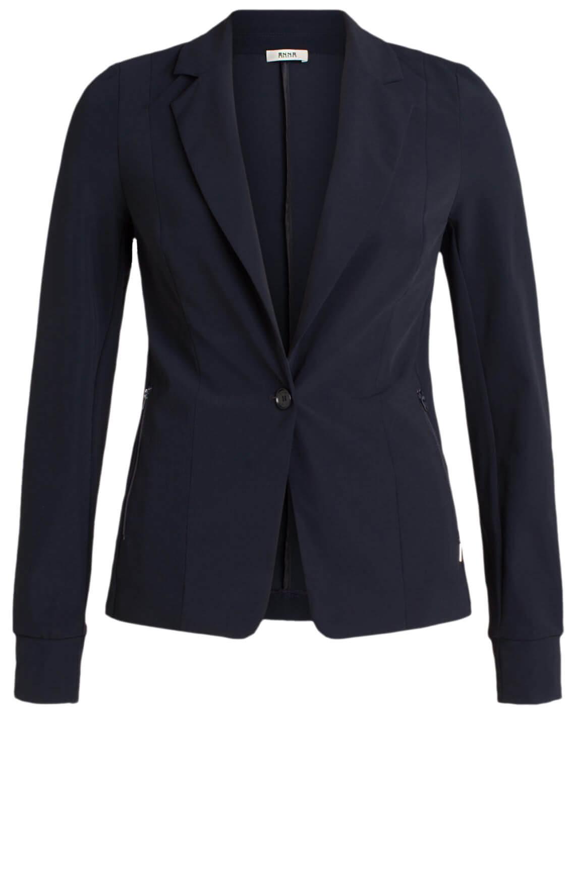 Anna Dames Jersey sensitive blazer Blauw