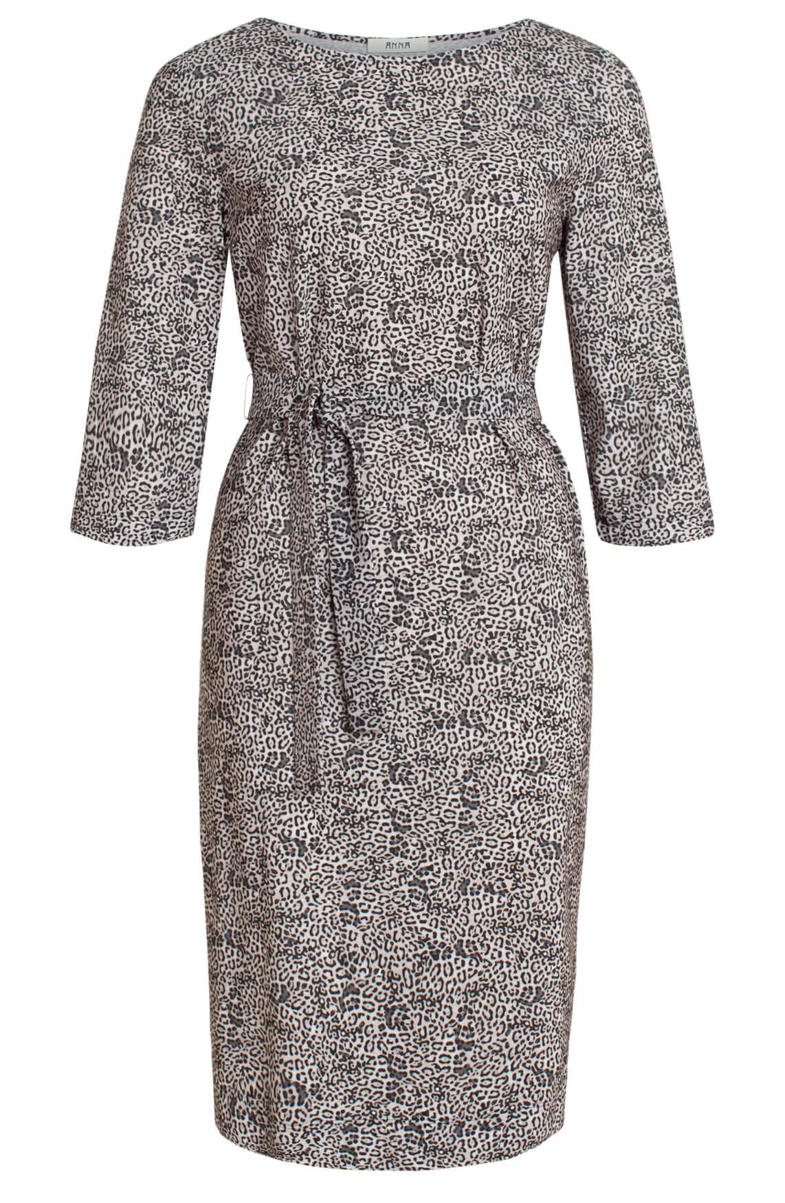 Anna Dames Jersey jurk met panterprint Grijs