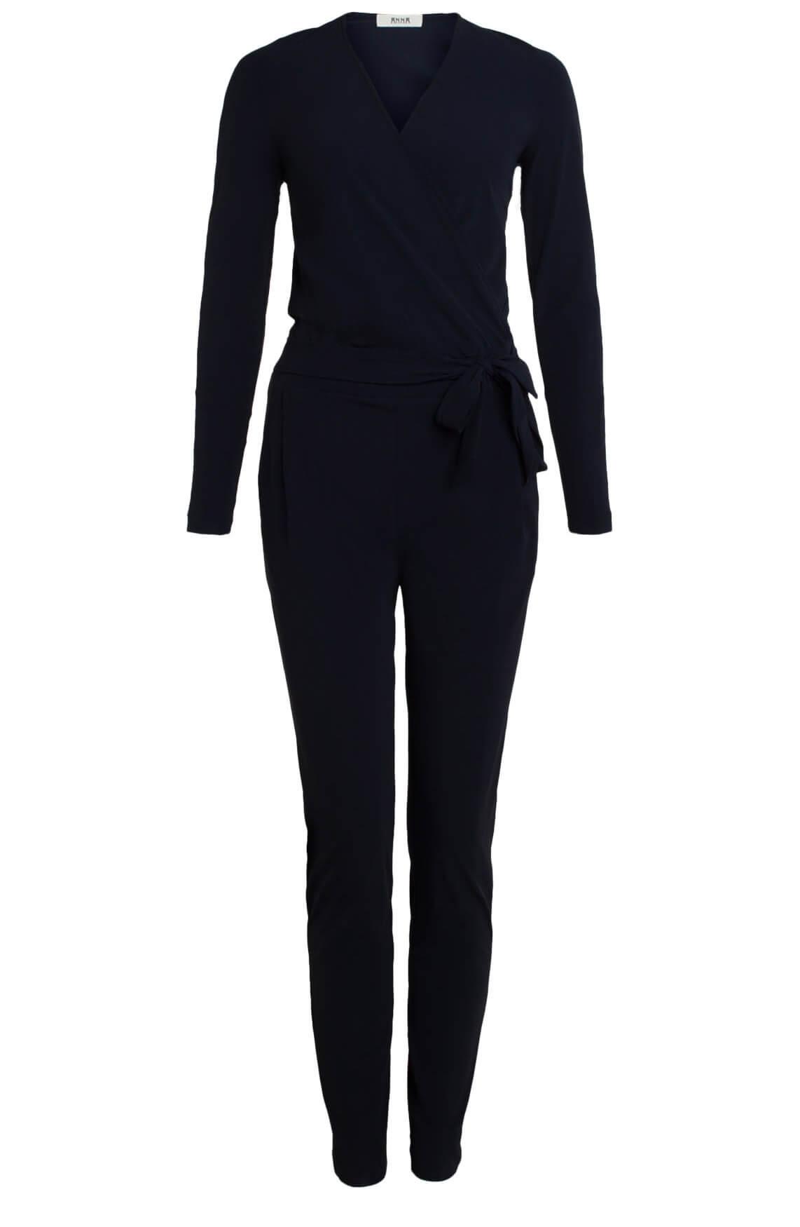 Anna Dames Eurojersey jumpsuit met ceintuur Blauw
