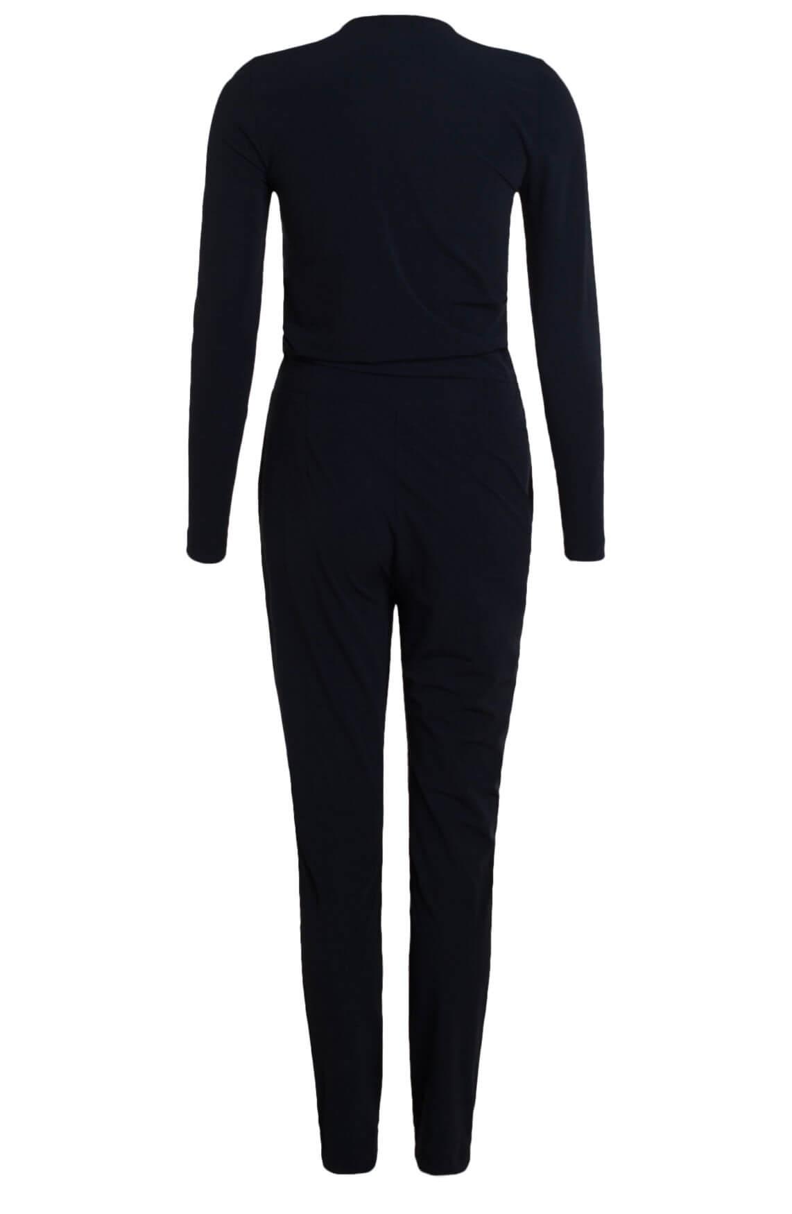 Anna Dames Jersey sensitive jumpsuit met ceintuur Blauw