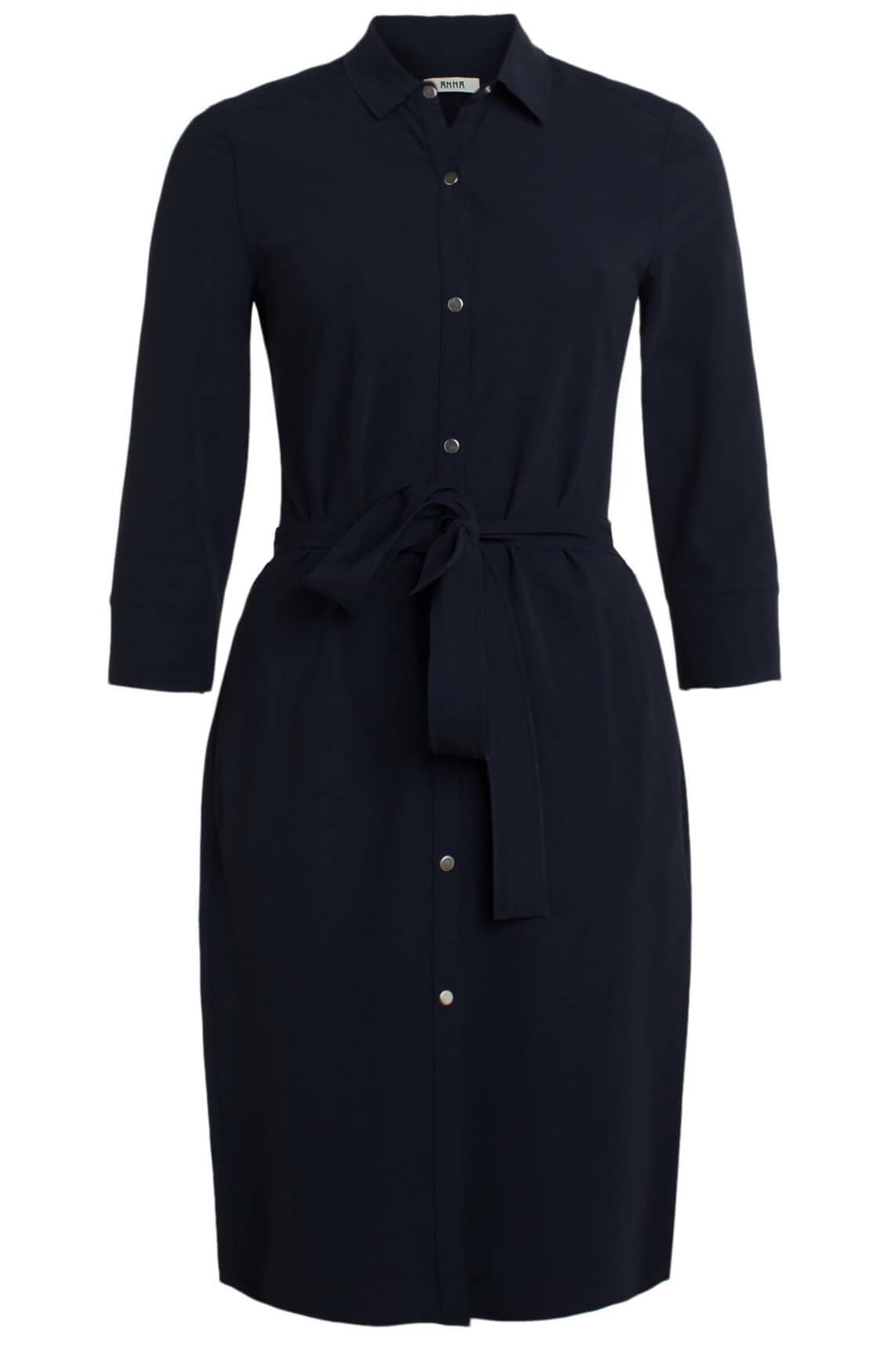 Anna Dames Jersey jurk met ceintuur Blauw