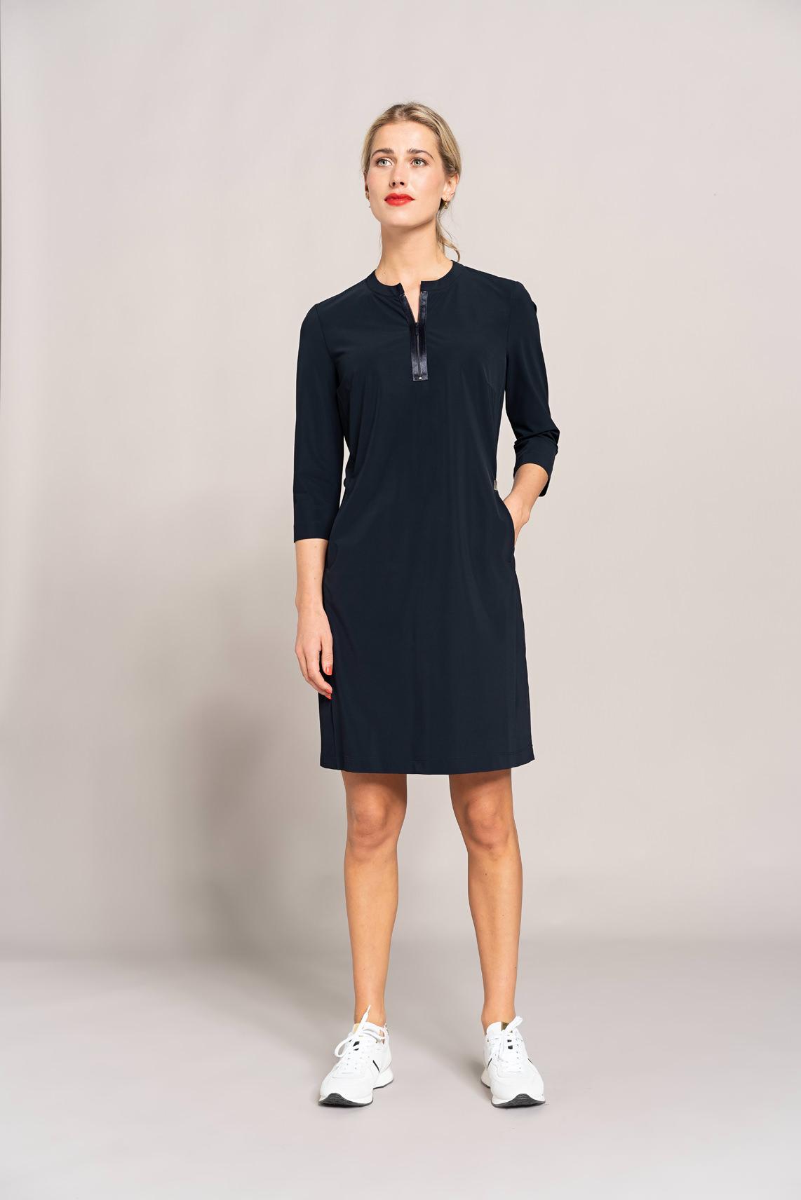 Anna Dames Jersey sensitive jurk met rits Blauw